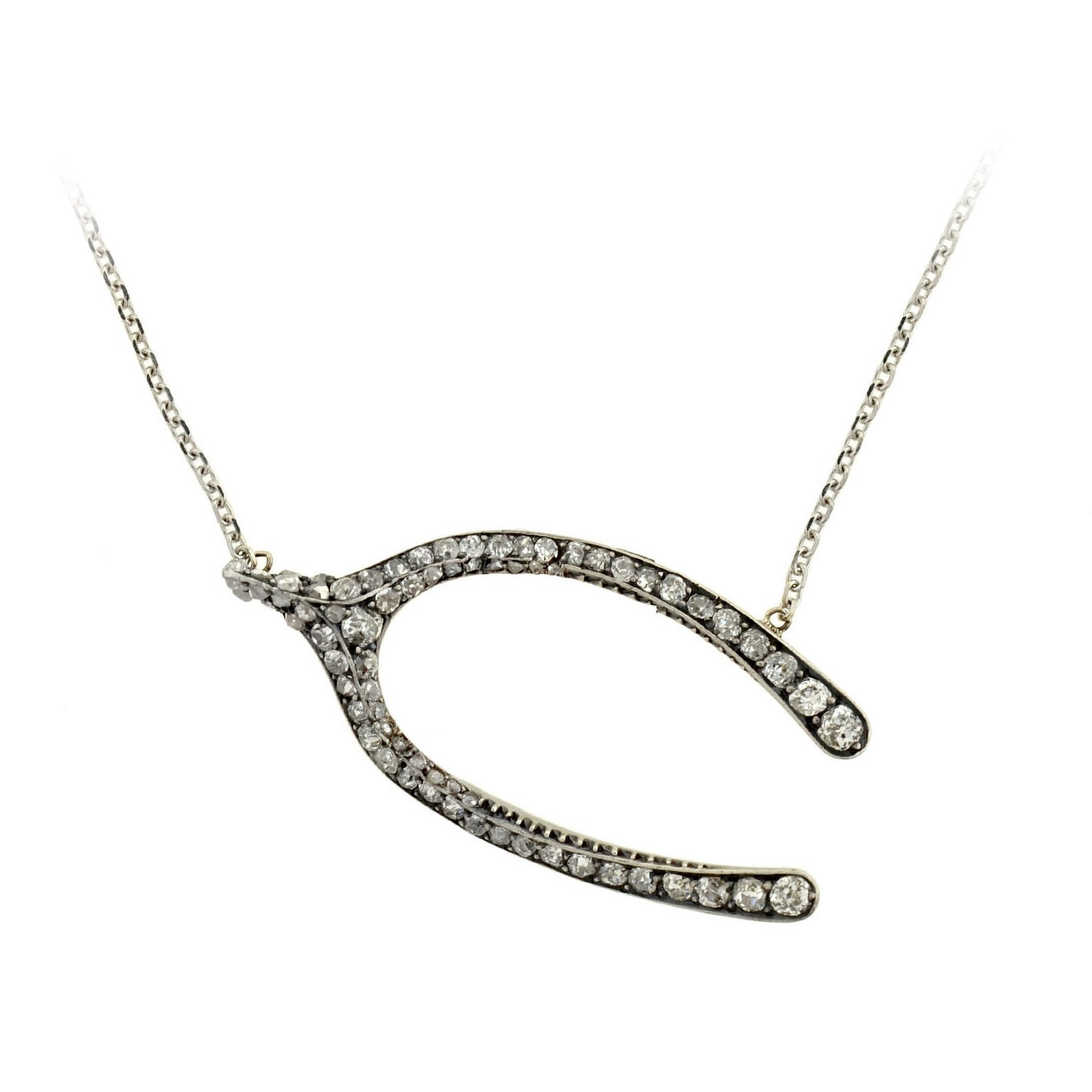 Victorian Silver Topped Diamond Wishbone Pendant Necklace Pertaining To 2020 Sparkling Wishbone Necklaces (Gallery 25 of 25)