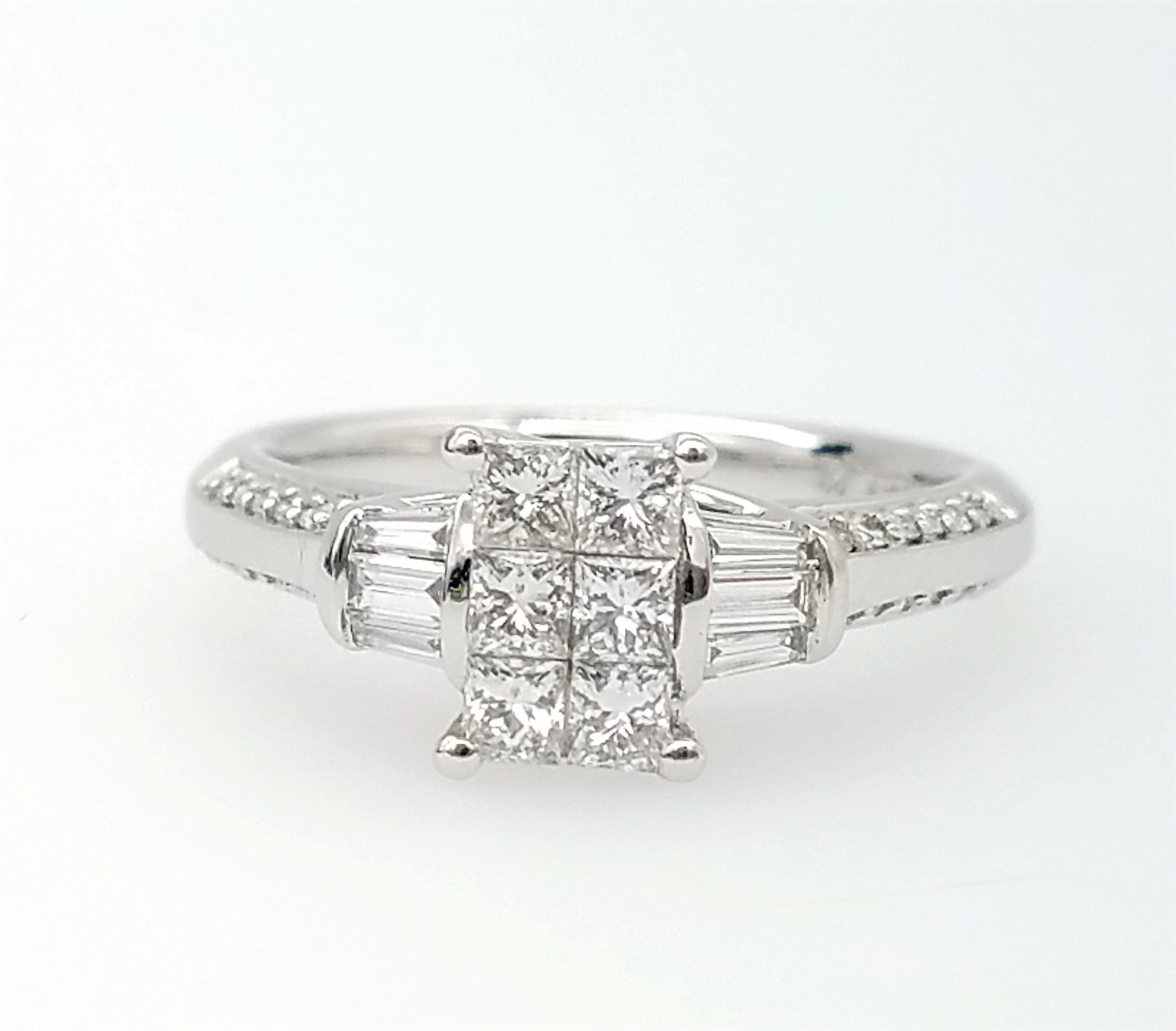 Vintage 14K Princess & Baguette Cut Diamond Cluster 14K White Gold  Engagement Or Cocktail Ring 14K White Gold – Size 7 With Most Current Baguette And Round Diamond Weaved Anniversary Rings In White Gold (Gallery 22 of 25)