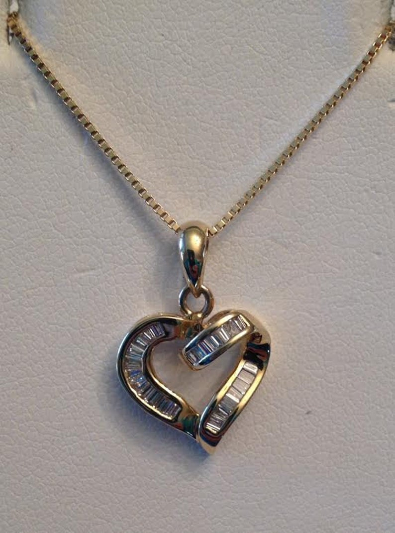 "Vintage 14K Yellow Gold 25 Baguette Diamond Open Heart Ribbon Pendant .50  Tw J Si1,2 I1, 16"" Regarding 2019 Ribbon Open Heart Necklaces (Gallery 11 of 25)"