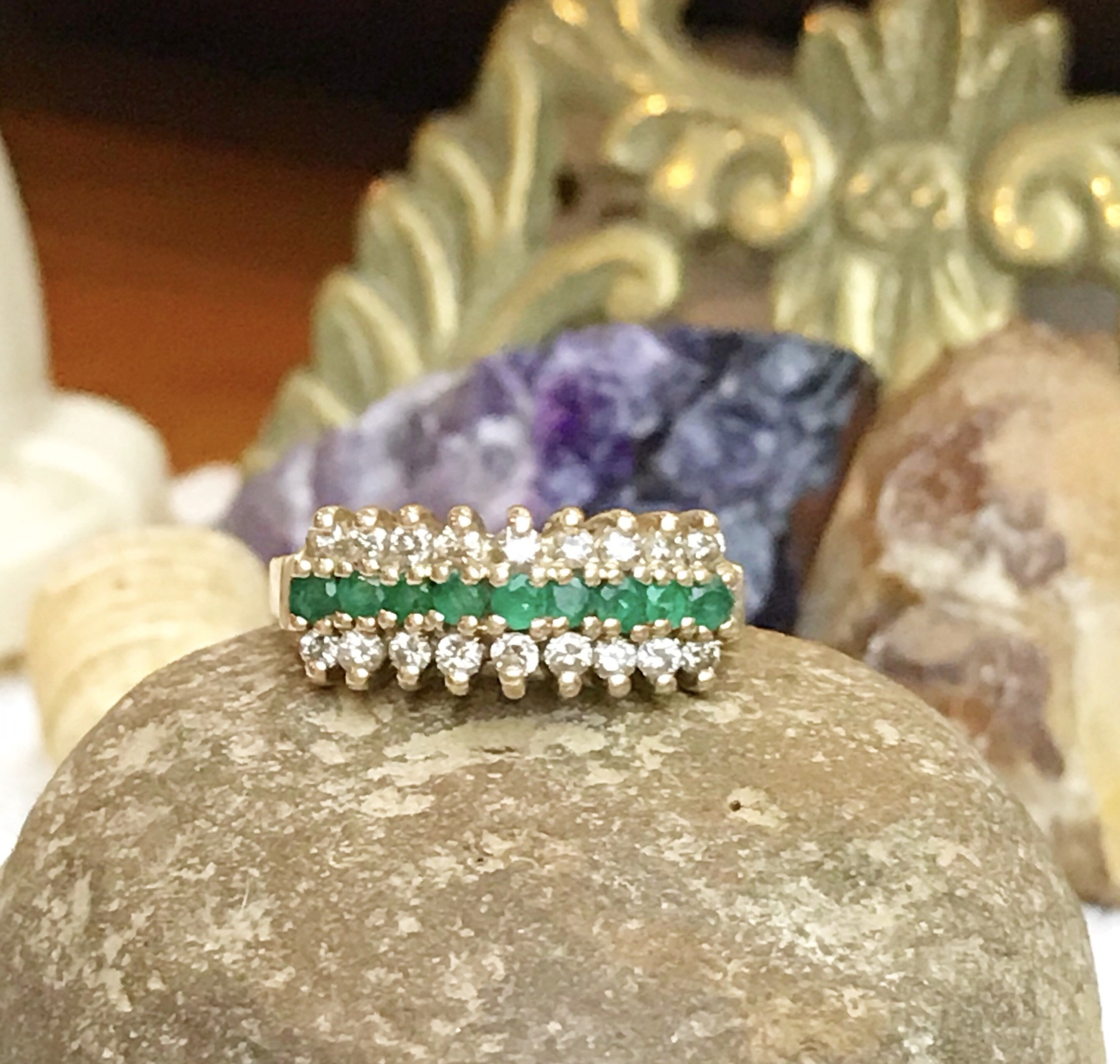 Vintage 14K Yellow Gold Three Row Emerald & Diamond Pyramid Ring, 14K Gold  3 Row Round Emerald And Diamond Tiara Anniversary Ring,  (View 21 of 25)