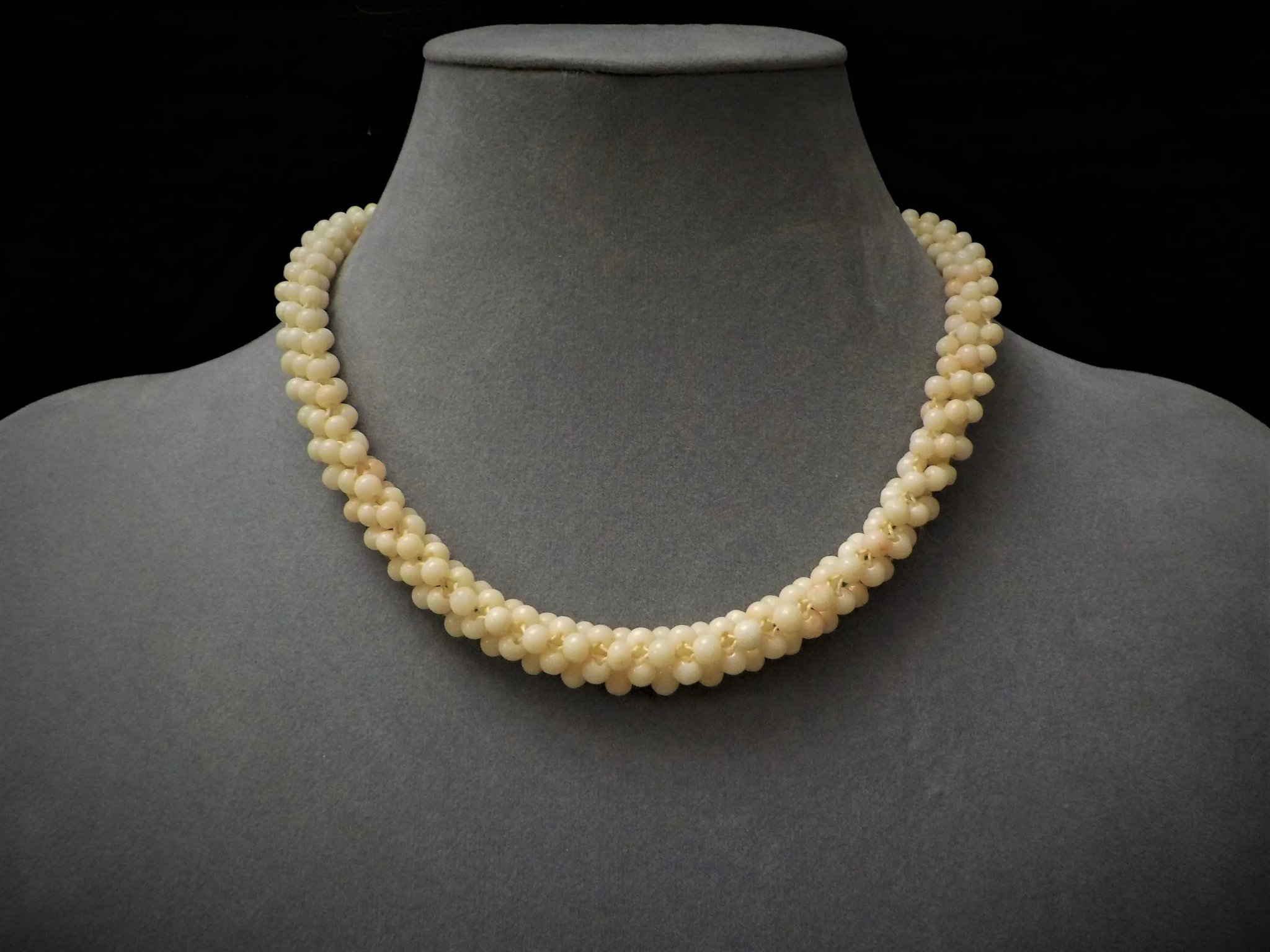 Vintage 1890 – 1940 Angel Skin Coral Woven Choker Necklace With Regard To Most Current Woven Fabric Choker Slider Necklaces (View 14 of 25)