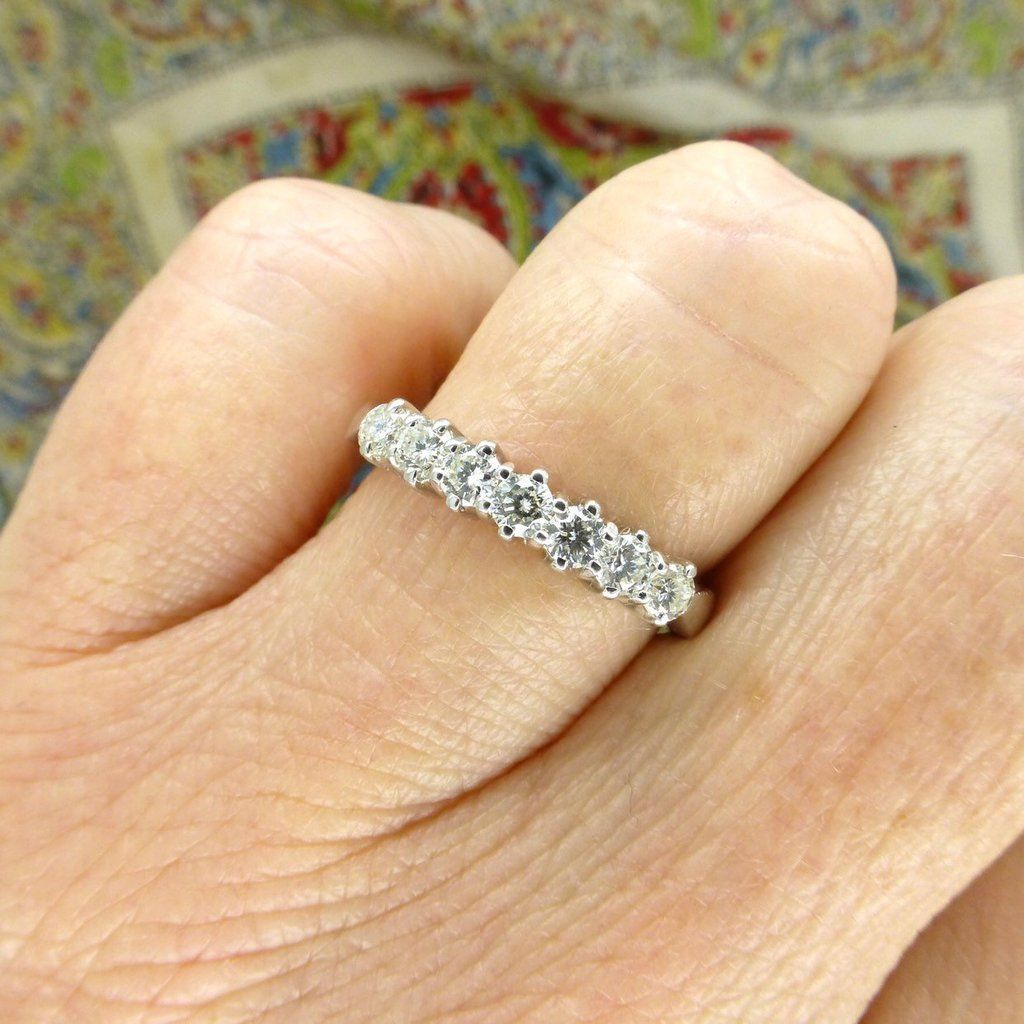 Vintage 18Ct White Gold Seven Stone Diamond Ring In 2019 Within Newest Diamond Seven Stone Anniversary Bands In White Gold (View 25 of 25)