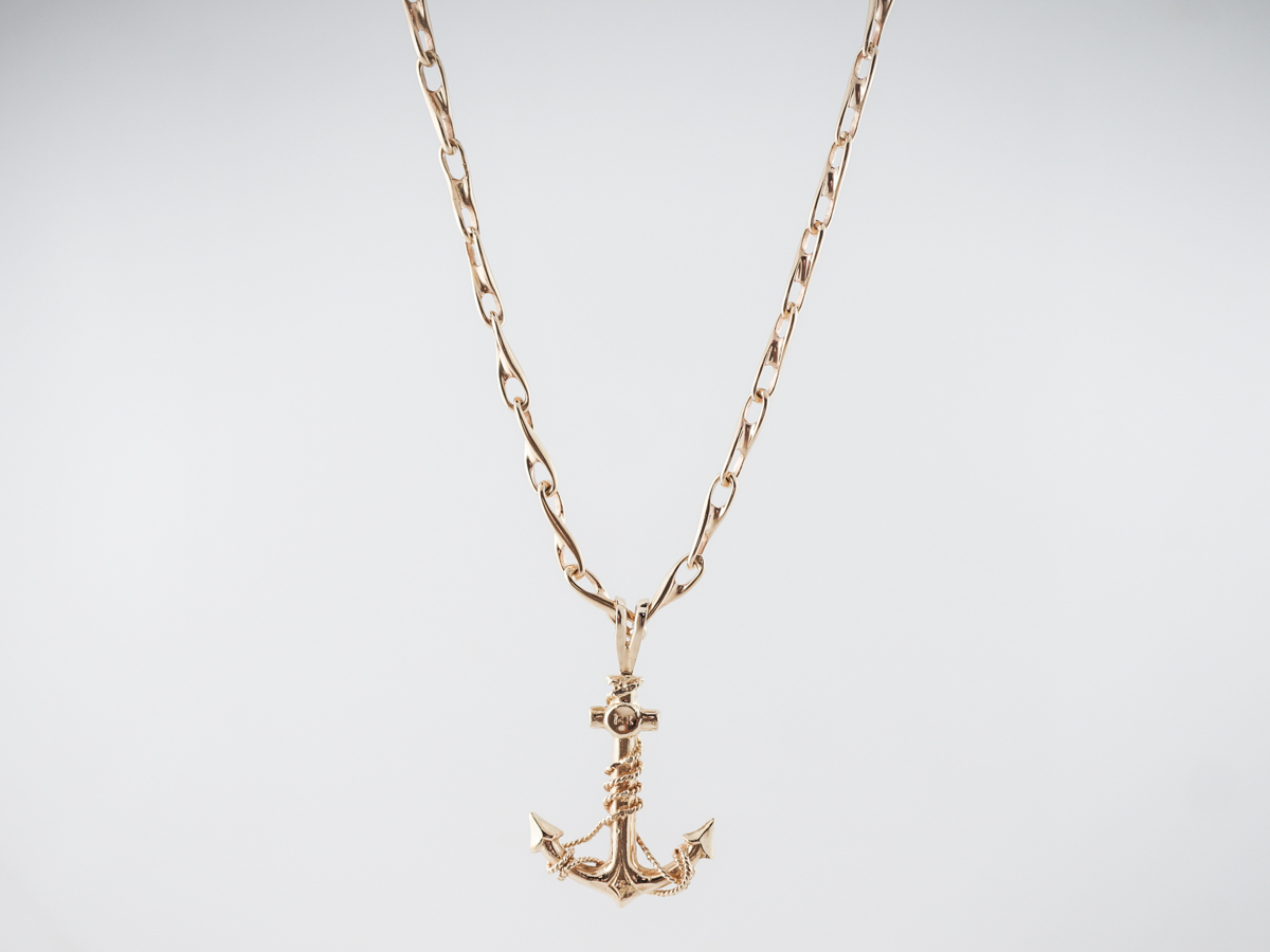 Vintage Anchor Necklace Mid Century In 14k Yellow Gold Within Most Current Classic Anchor Chain Necklaces (View 13 of 25)