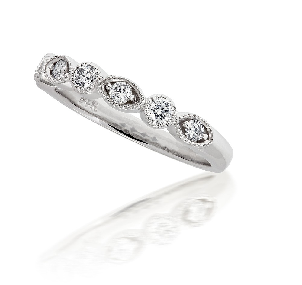 Vintage Art Deco Milgrain Marquise And Round Diamond Ring In 14k White Gold (0.32ct. Tw (View 11 of 25)