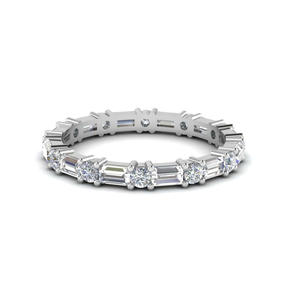 Vintage Baguette Diamond Wedding Band In 14k White Gold With Best And Newest Round And Baguette Diamond Vintage Style Anniversary Bands In White Gold (View 6 of 25)