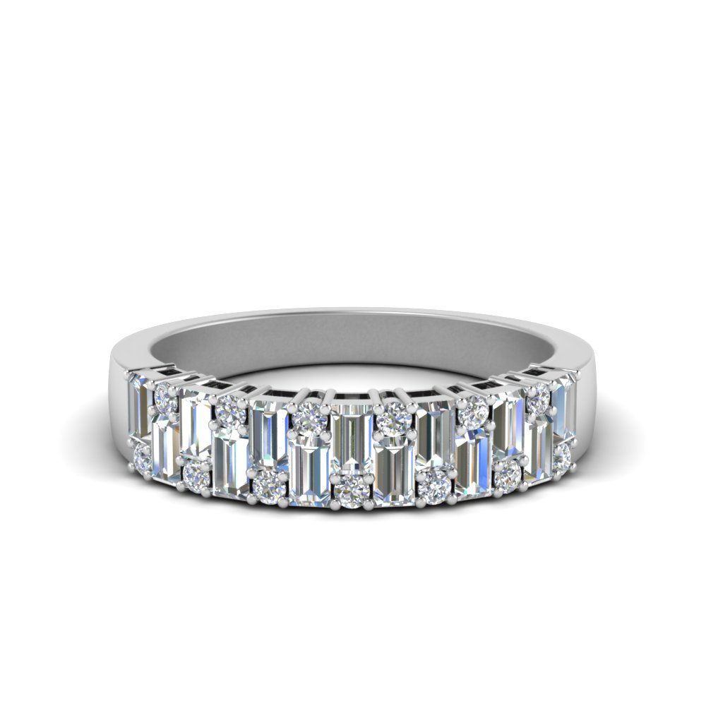 Featured Photo of Baguette And Round Diamond Anniversary Bands In White Gold