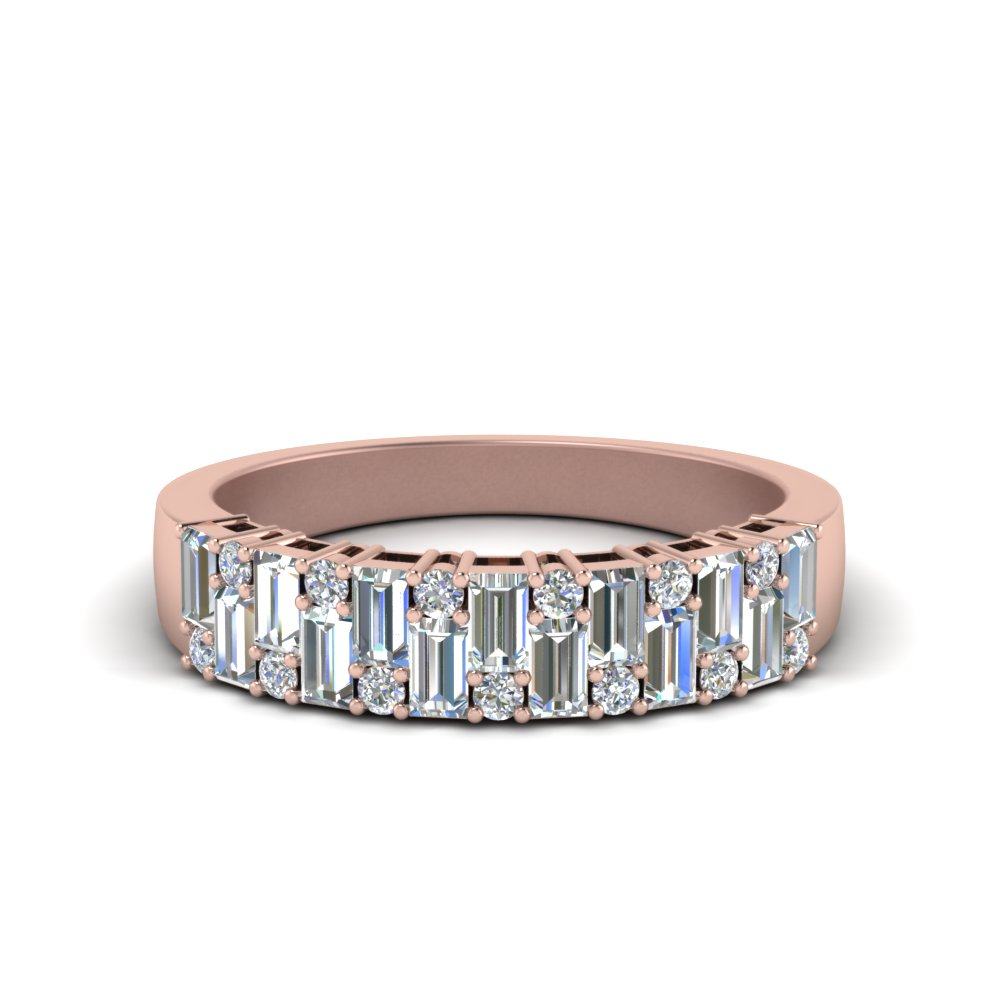 Vintage Baguette Wedding Band Regarding Latest Diamond Anniversary Bands In Rose Gold (View 5 of 25)