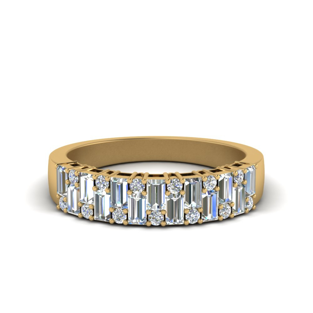 Featured Photo of Round And Baguette Diamond Vintage Style Anniversary Bands In White Gold