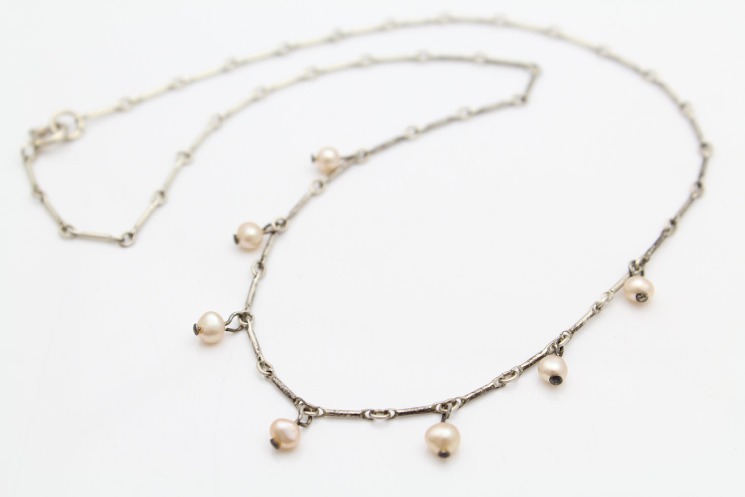 """Vintage Bar Link 16"""" Collier With Freshwater Pearl Dangles In Sterling  Silver. [9446] Within Most Recent Vintage Circle Collier Necklaces (Gallery 20 of 25)"""