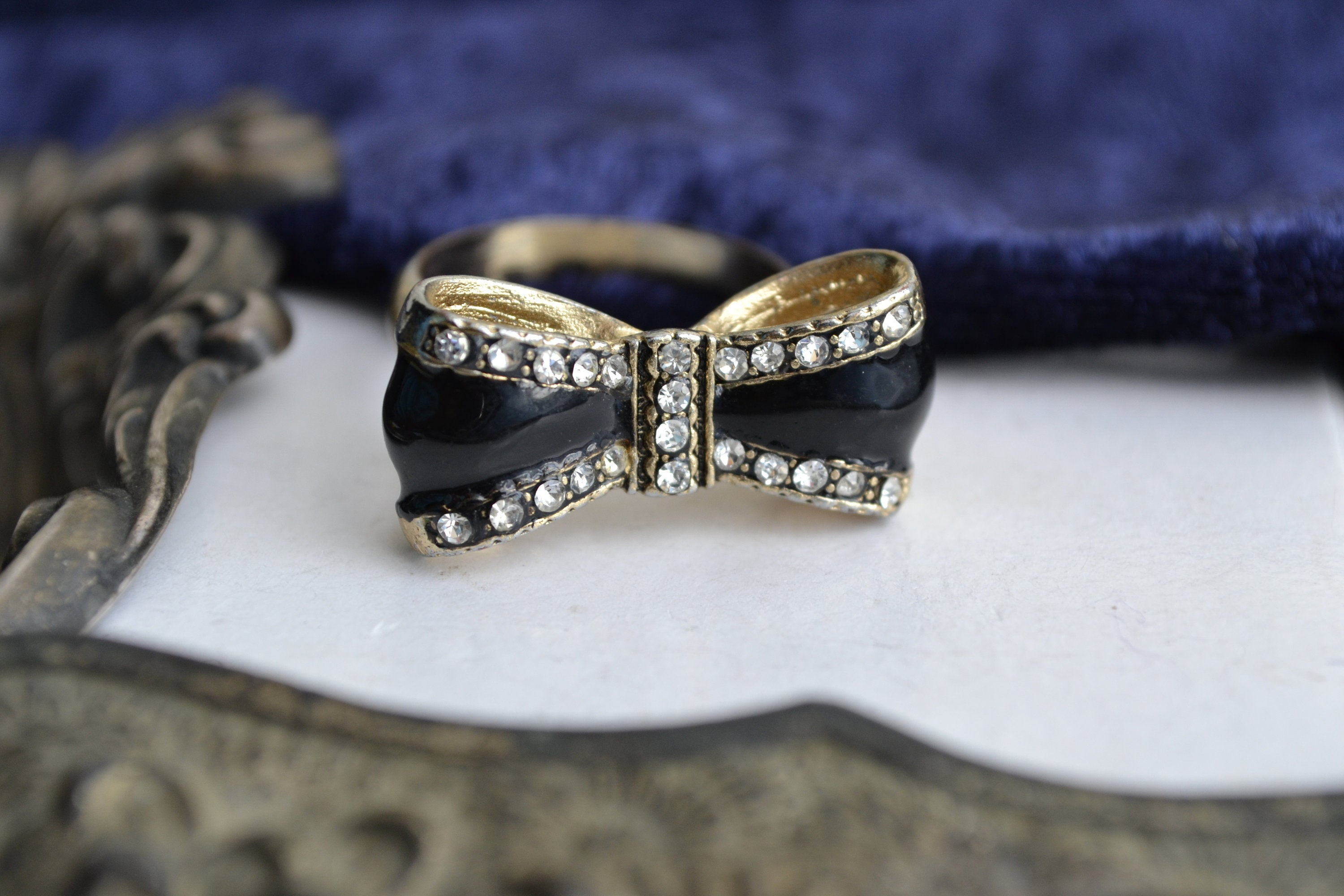 Vintage Black Enamel Bow Ring With Colourless Rhinestones, Ladies Ring, Uk Size R, 1990s Diamante Pretty Ring With Regard To Recent Classic Bow Rings (View 18 of 25)