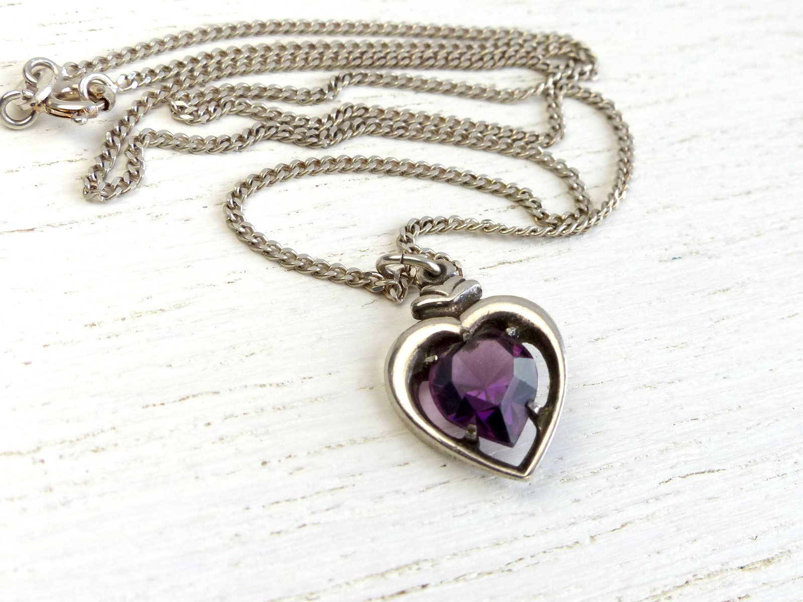 Vintage Danish 835 Solid Silver Heart Necklace Amethyst Heart Silver Heart Pendant With Purple Stone Scandinavian Sweetheart Jewelry Denmark Pertaining To Most Up To Date Purple Ladybird Locket Element Necklaces (View 14 of 25)