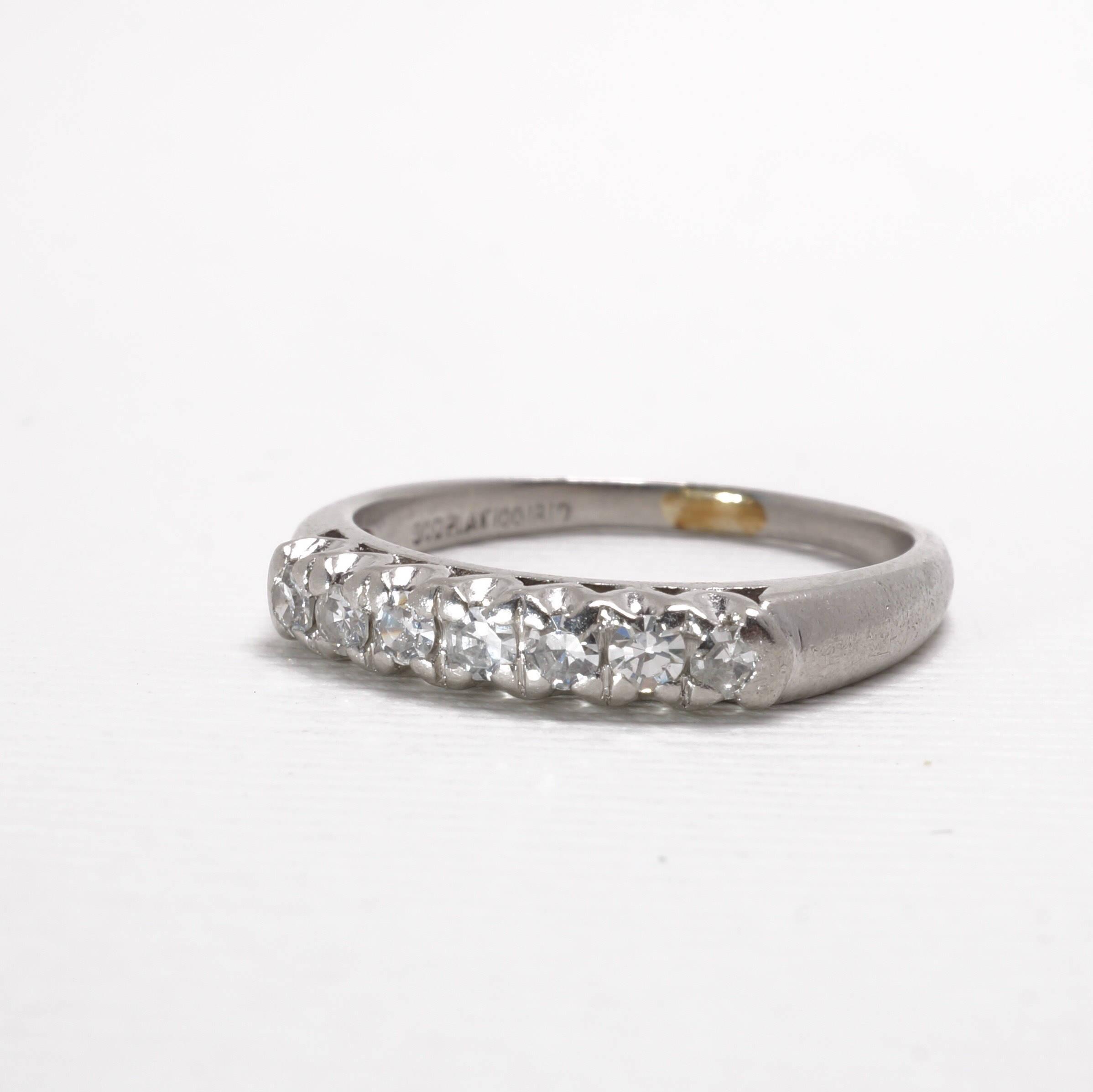 Vintage Diamond Anniversary Band | Platinum Ring | Seven Diamonds | Item  93617 Intended For Latest Diamond Anniversary Bands In Platinum (Gallery 25 of 25)