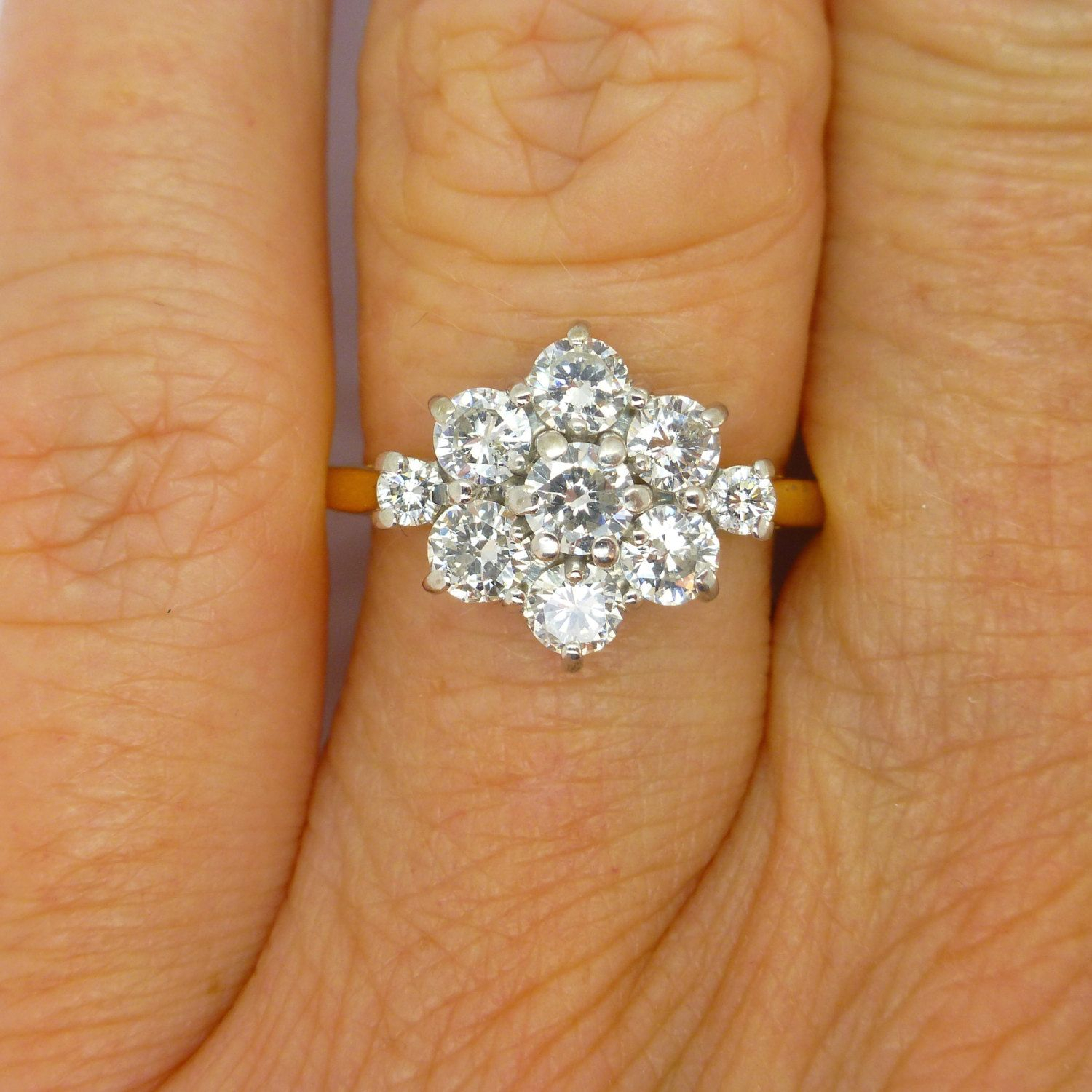Vintage Diamond Cluster Engagement Ring 18Ct 18K English Estate With Regard To Most Popular Classic Daisy Flower Band Rings (View 25 of 25)