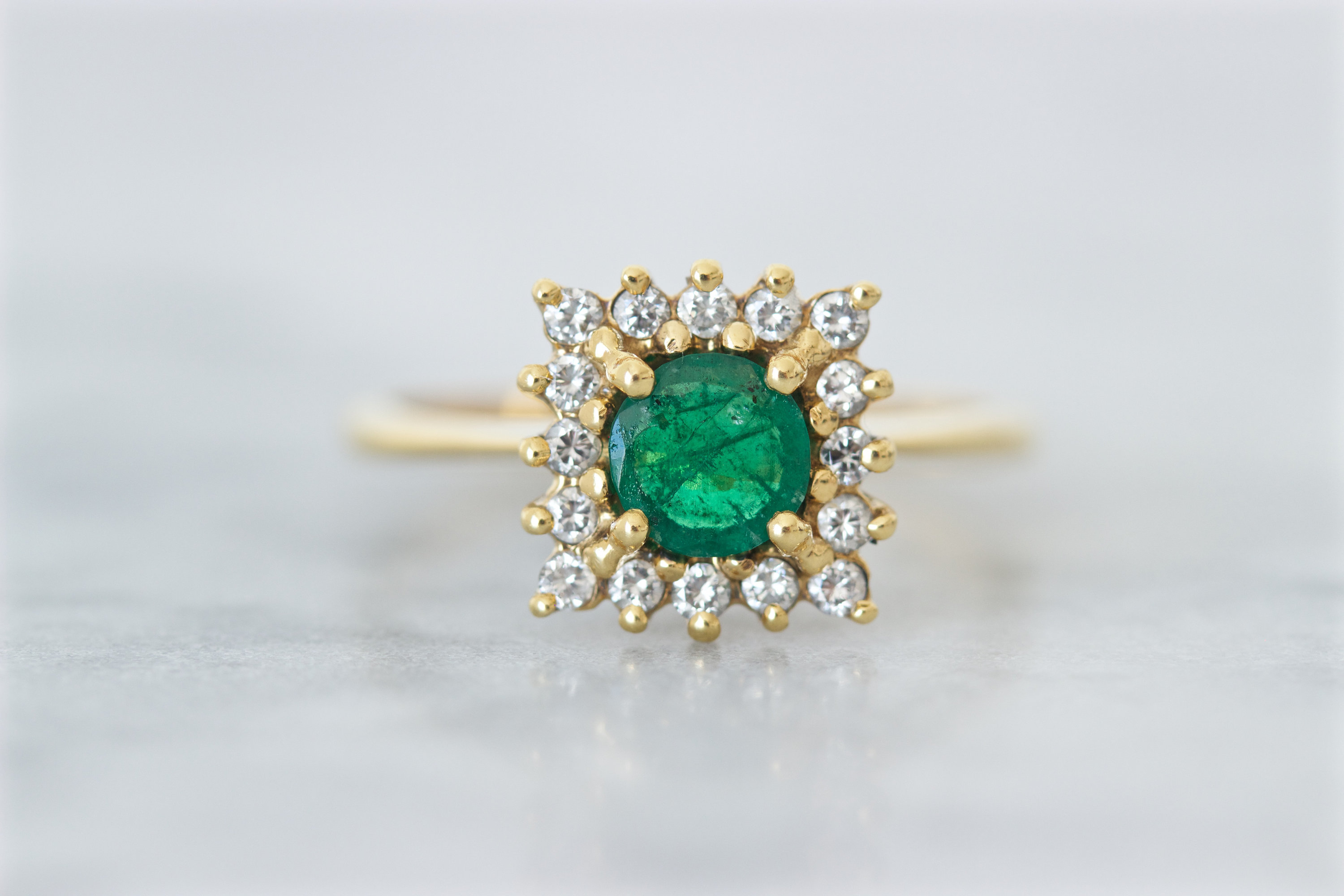 Vintage Emerald Engagement Ring, Square Diamond Halo, 18K Yellow Gold,  April May Birthstone Jewelry For Women, Size  (View 23 of 25)