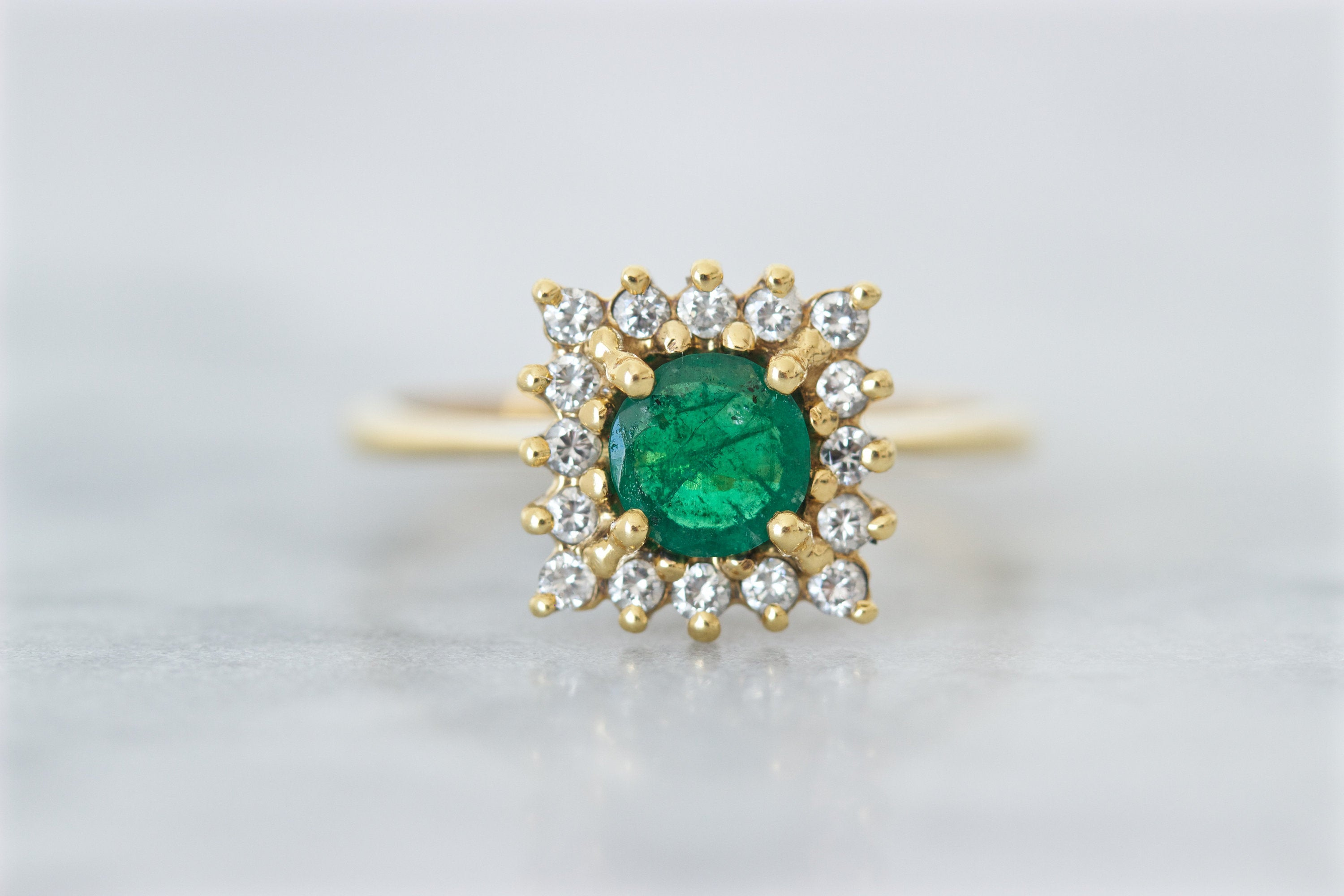 Vintage Emerald Engagement Ring, Square Diamond Halo, 18K Yellow Gold,  April May Birthstone Jewelry For Women, Size 7.25, 1980S Fine Rings With Regard To Most Recently Released Sparkling Square Halo Rings (Gallery 24 of 25)