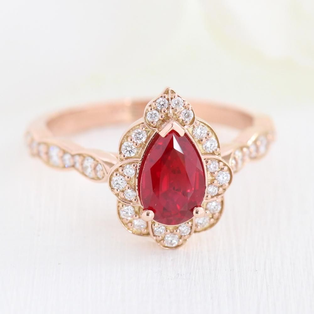 Vintage Floral Pear Ring In Scalloped Band W/ Ruby And Intended For Most Current Diamond Vintage Style Anniversary Bands In Rose Gold (View 22 of 25)