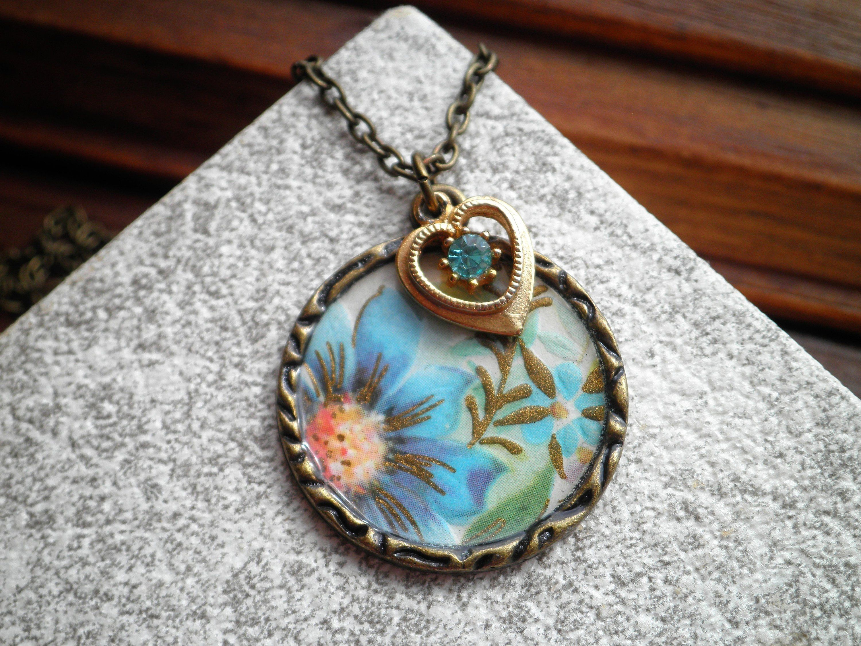 Vintage Flower & Heart Charm Necklace – Blue Flowers Floral Paper Throughout Most Recently Released Baby Blue Enamel Blue Heart Petite Locket Charm Necklaces (View 16 of 25)