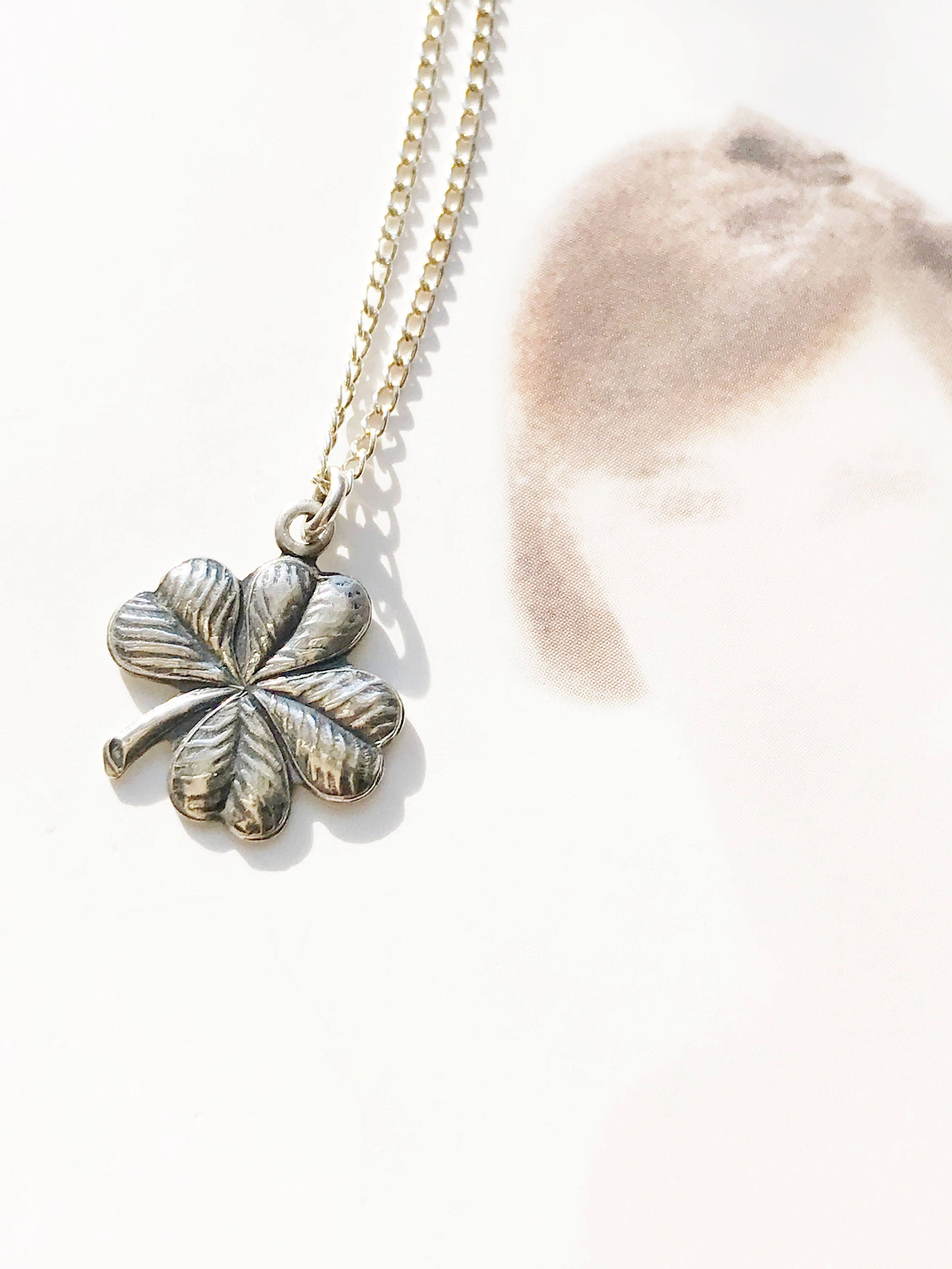 Vintage Four Leaf Clover Necklace | Retro 1950's Sterling Silver Regarding Recent Lucky Four Leaf Clover Y  Necklaces (Gallery 18 of 25)