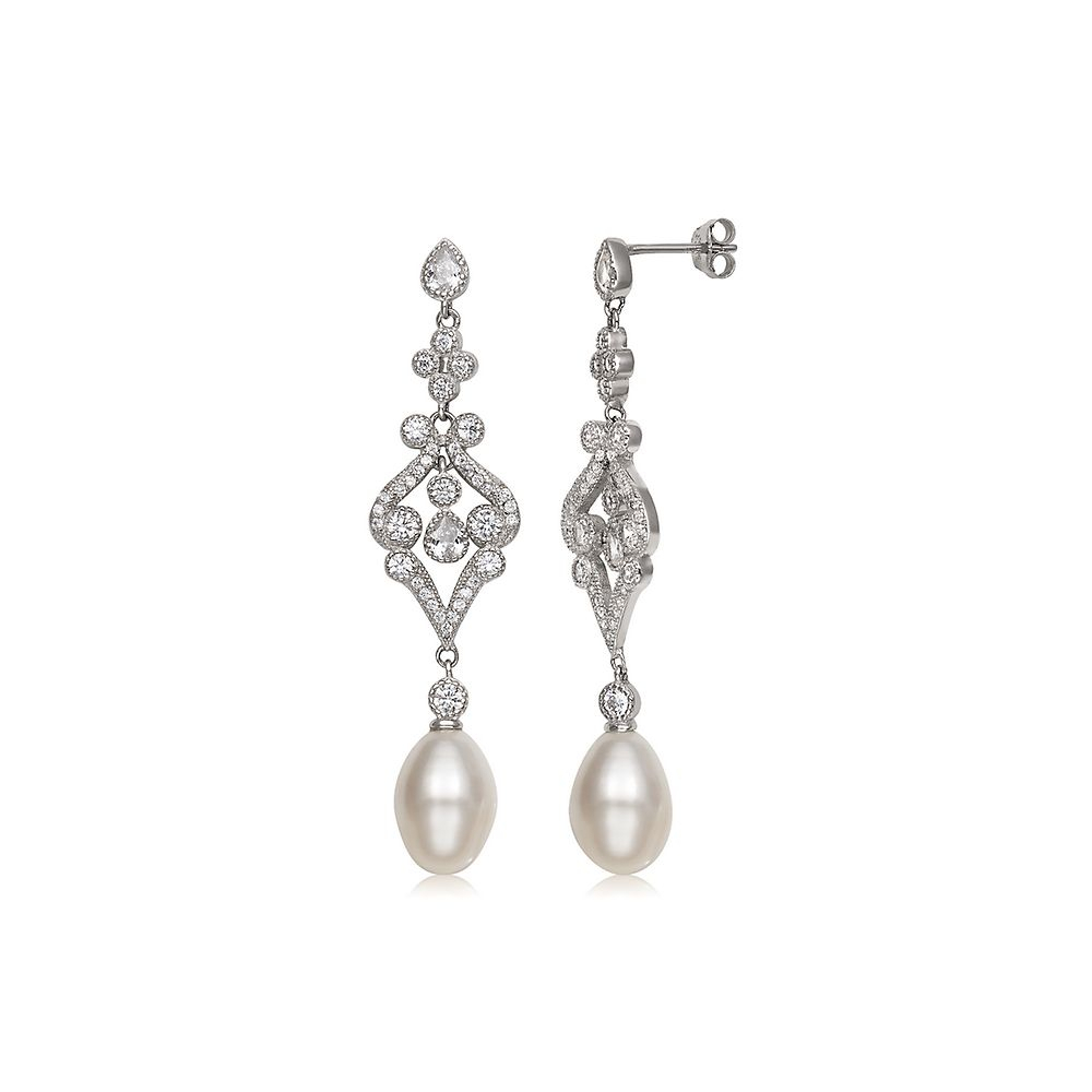 Vintage Freshwater Cultured Pearl & Simulated Diamond Dangle Throughout Best And Newest Dangling Freshwater Cultured Pearl Rings (View 24 of 25)