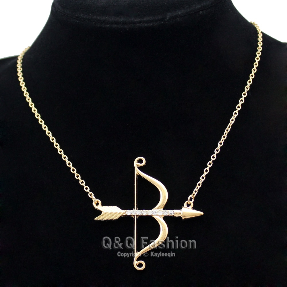 Vintage Gold Cupid Bow & Arrow Katniss Archery Charm Crystal Chain Necklace Jewelry New Pertaining To Most Current Arrow Of Cupid Dangle Charm Necklaces (View 25 of 25)