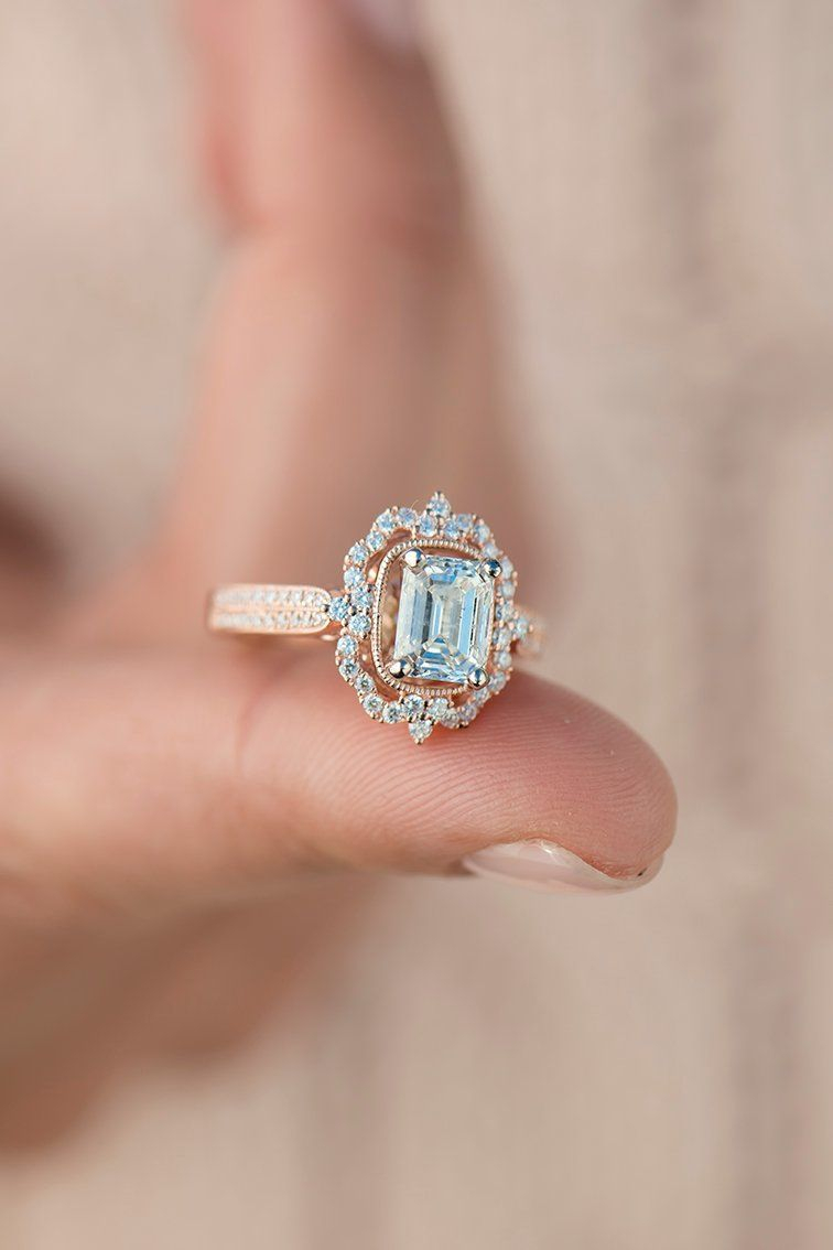 Vintage Halo Diamond Engagement Ring | Vintage Inspired Rings In Pertaining To Most Recent Classic Sparkle Halo Rings (View 21 of 25)