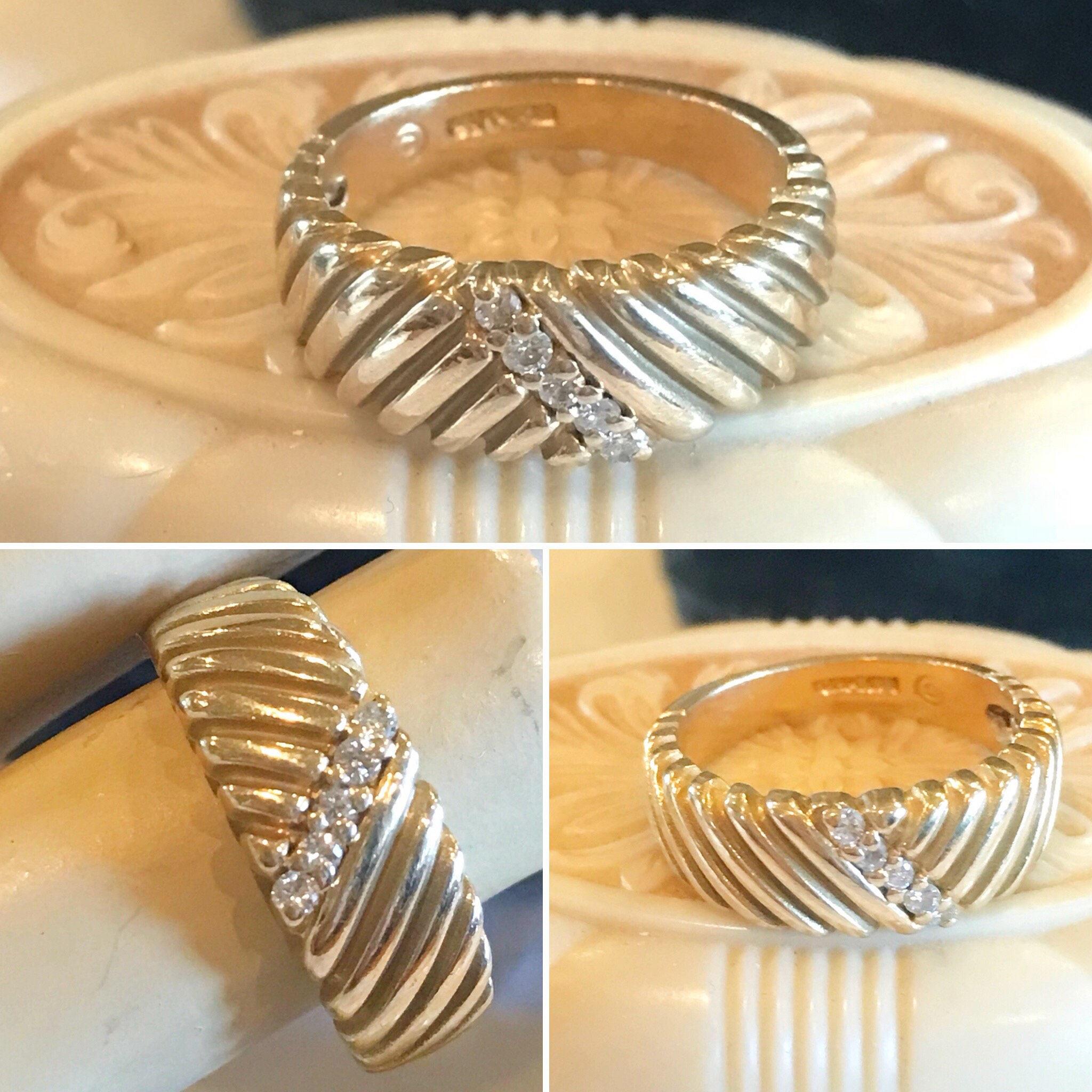 Vintage Ladies 14K Yellow Gold Slant Textured 5 Diamond Wedding, Stacker Or  Anniversary Band Frederick Goldman 14K Diamond Ring Within Recent Diamond Slant Anniversary Bands In White Gold (Gallery 19 of 25)