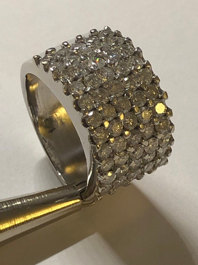 """Vintage Mid Century Wedding Anniversary Pave """"bead"""" Set 2.75 Diamond Wide  Band Ring 14K Wg Sz 6.75 Pertaining To Newest Polished & Pavé Bead Open Rings (Gallery 25 of 25)"""