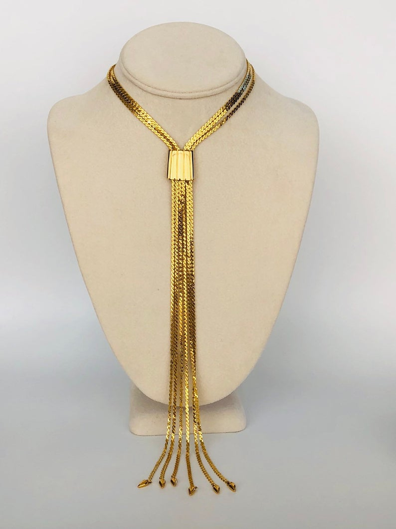 Vintage Monet Gold Multi Chain Slider Choker Necklace, Monet Runway  Statement Gold Chain Necklace, Monet 6 Chain Slider Necklace, Adjustable Pertaining To Latest Woven Fabric Choker Slider Necklaces (View 9 of 25)
