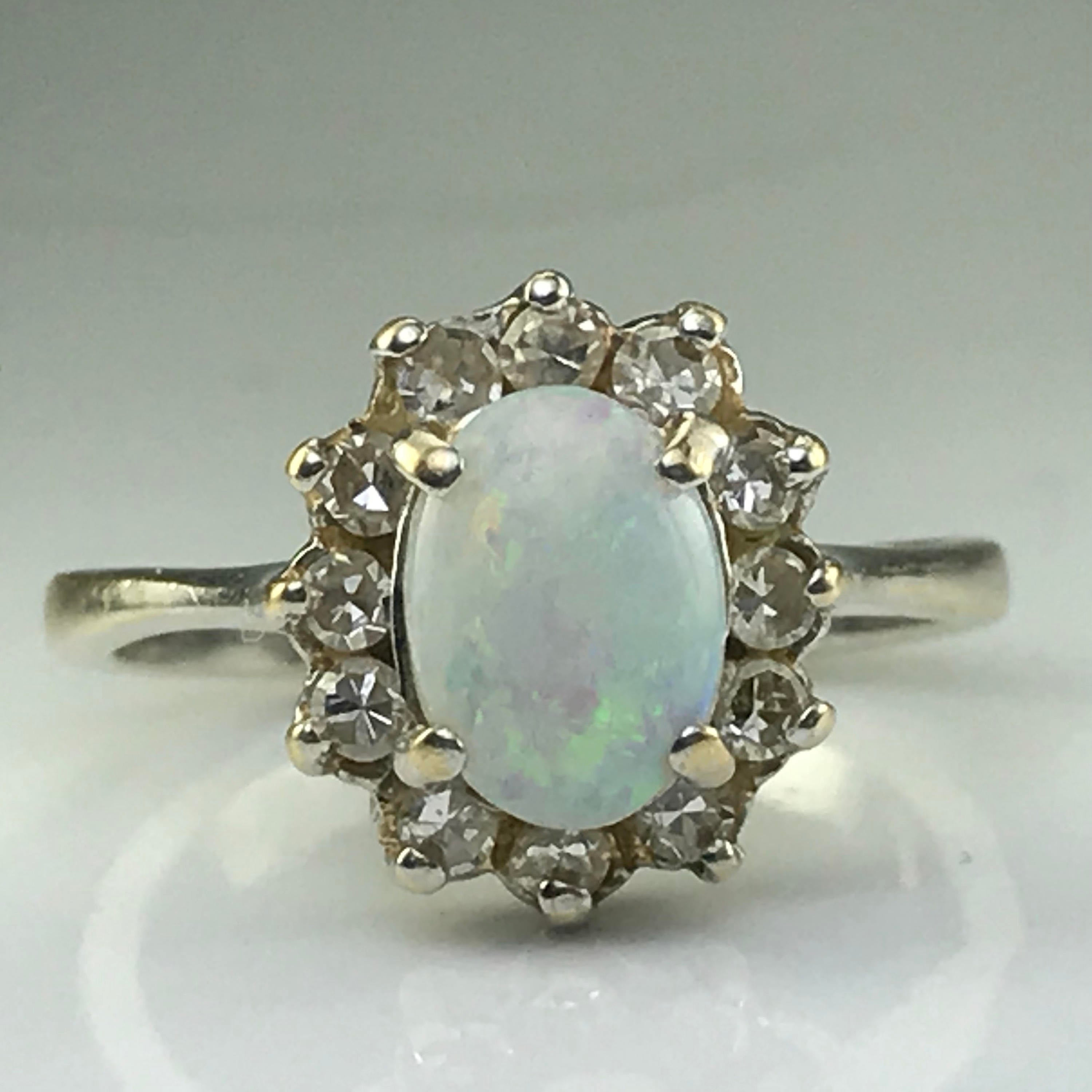 Vintage Opal Engagement Ring. Diamond Halo Ring (View 22 of 25)