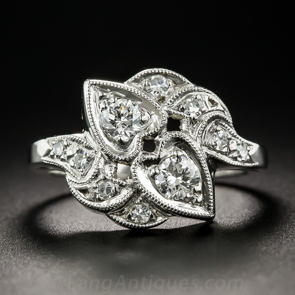 Vintage Platinum Diamond Double Heart Ring Throughout Most Up To Date Sparkle & Hearts Rings (Gallery 24 of 25)