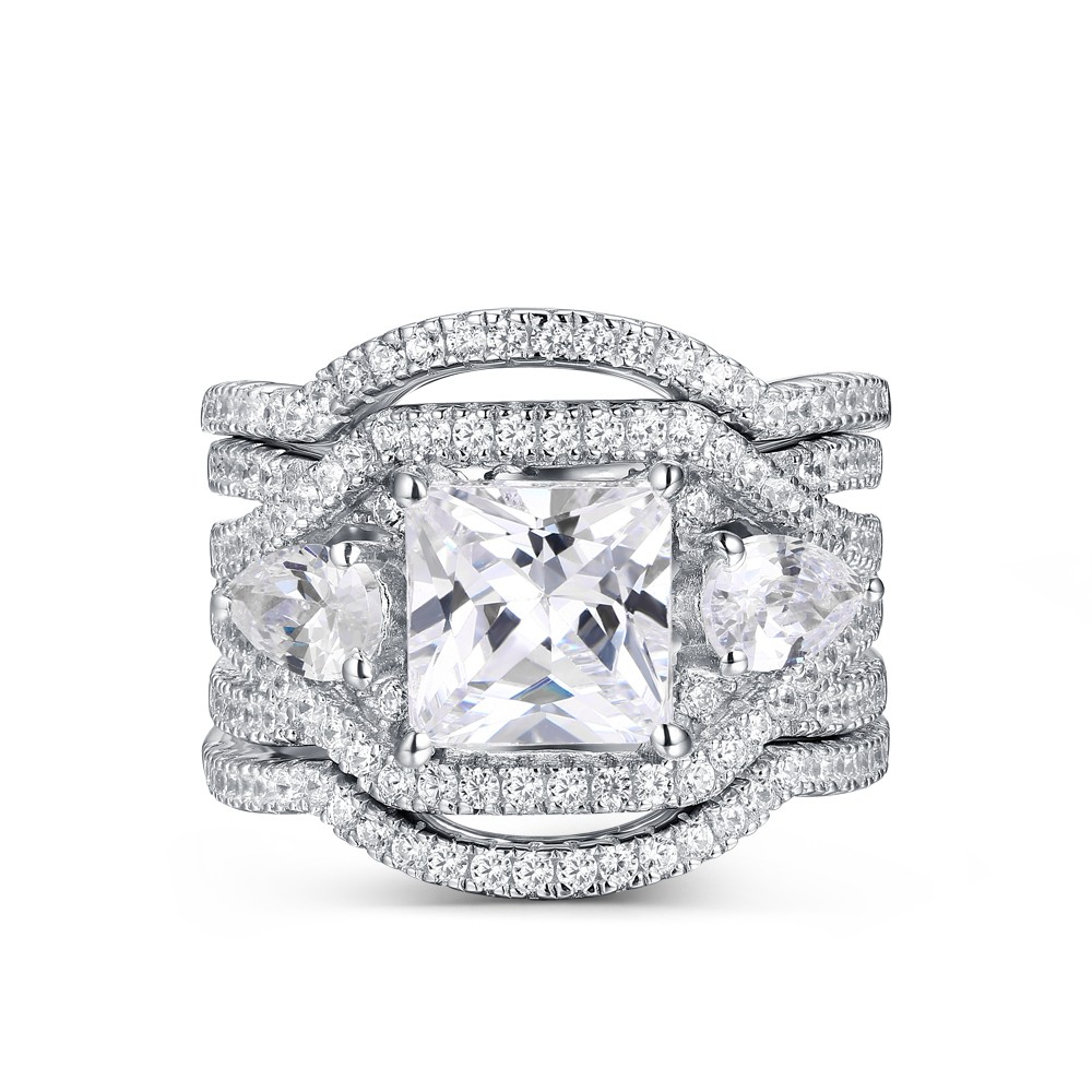 """Vintage Princess Cut White Sapphire 925 Sterling Silver Wedding Ring Set Inside 2019 Diamond Five Stone """"s"""" Anniversary Bands In Sterling Silver (View 21 of 25)"""