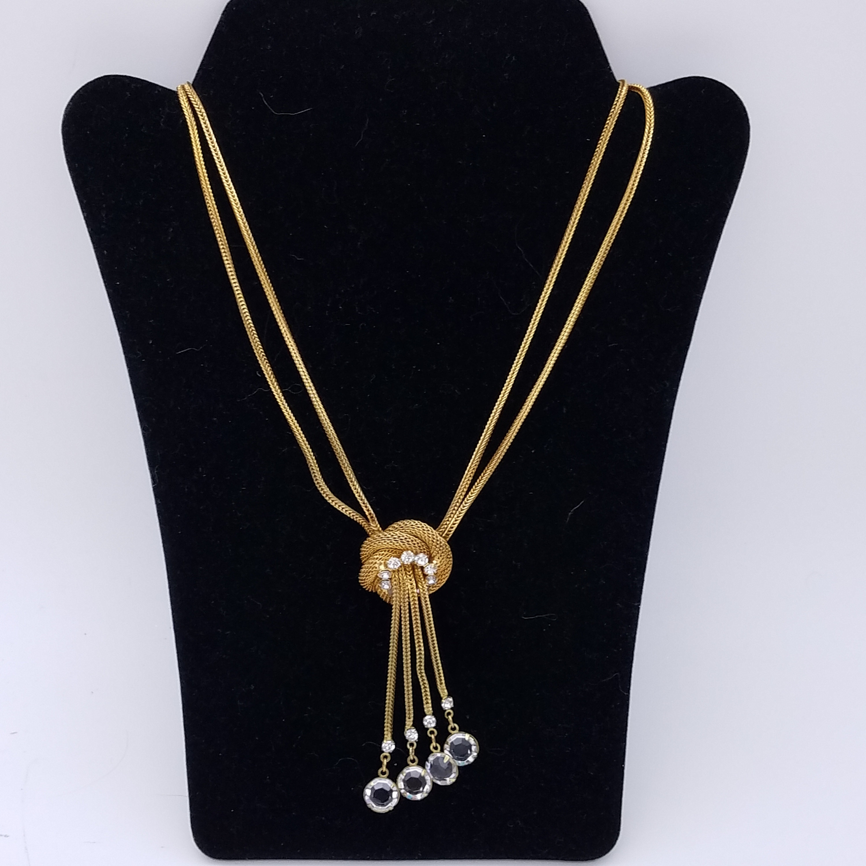 """Vintage Rhinestone & Crystal Double Wheat Chain Pendant Necklace – 16"""" Throughout Recent Wheat Pendant Necklaces (Gallery 24 of 25)"""