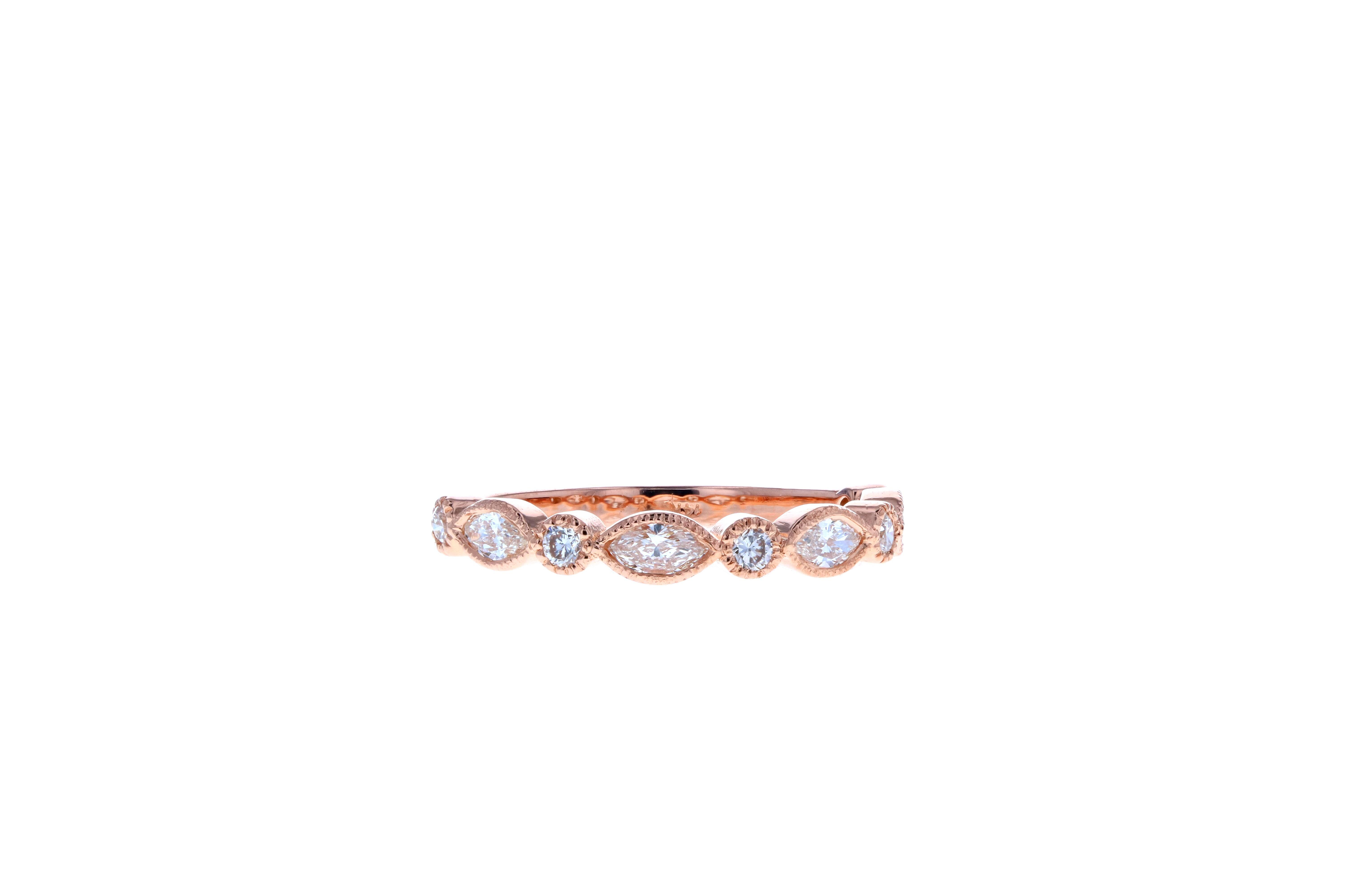 Vintage Rose Gold Marquise Diamond Wedding Band For 2019 Marquise And Round Diamond Alternating Anniversary Bands In Rose Gold (Gallery 22 of 25)