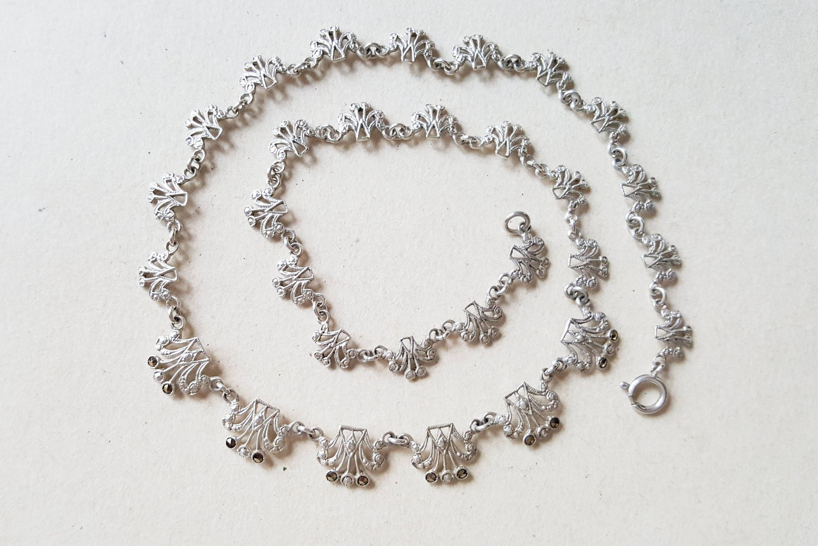 Vintage Silver And Marcasite Collier Necklace, Scandinavia, 1950S Regarding Recent Vintage Circle Collier Necklaces (View 25 of 25)