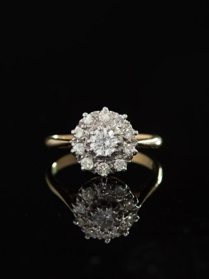 Vintage Sparkling 1.09 Ct Diamond Halo Cluster Ring Inside Current Sparkling Halo Rings (Gallery 17 of 25)