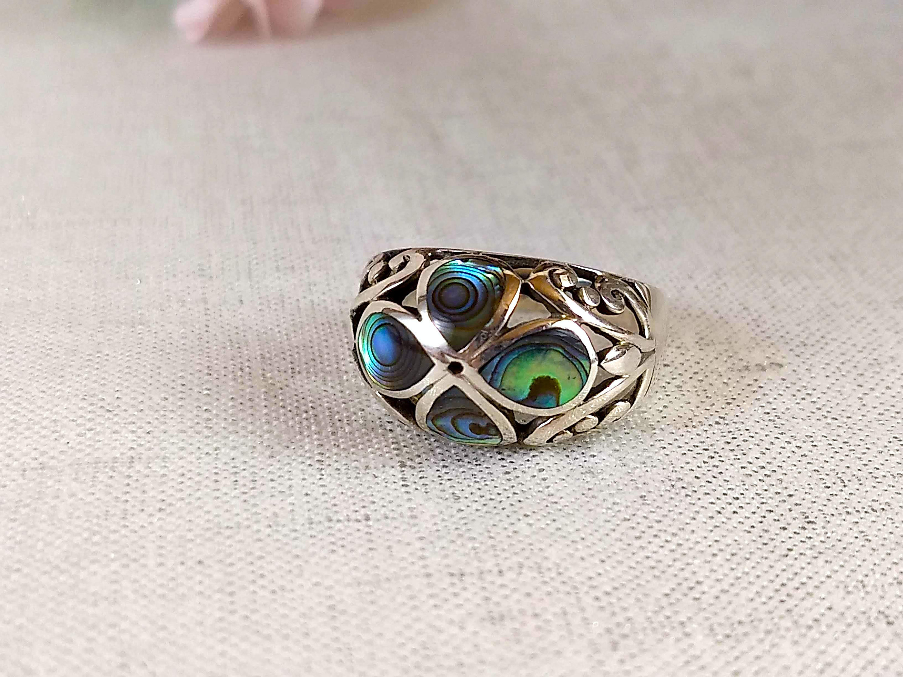 Vintage Sterling Abalone Ring Size 8.5, Four Leaf Clover Ring, Sterling  Silver 925 Stamped, Ocean Sea Mermaid Mystical Jewelry Gifts For Her Pertaining To Most Popular Lucky Four Leaf Clover Open Rings (Gallery 23 of 25)