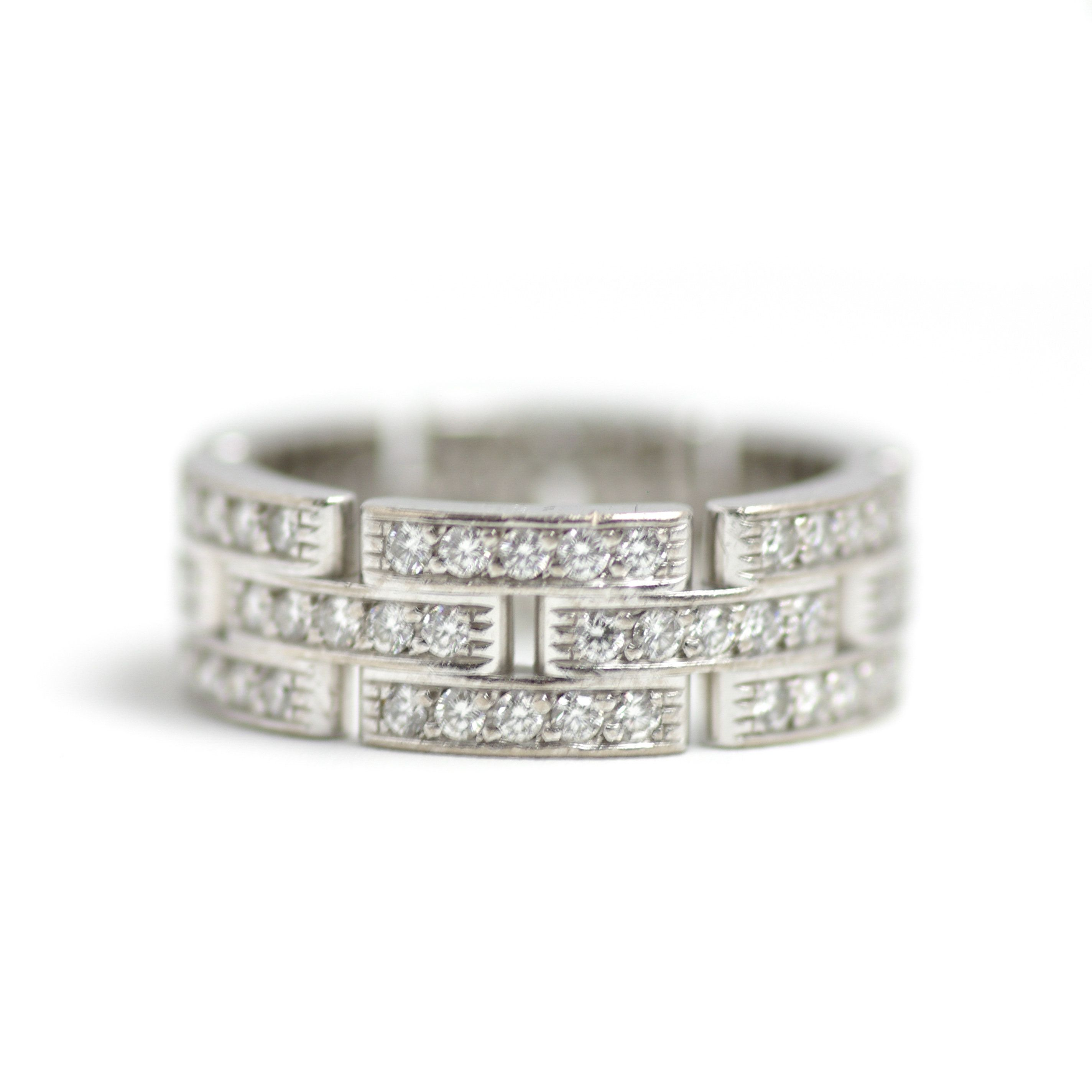 Vintage Style Cartier Maillon Panthere Three Row Pave Regarding Recent Diamond Vintage Style Three Row Anniversary Bands In White Gold (View 11 of 25)