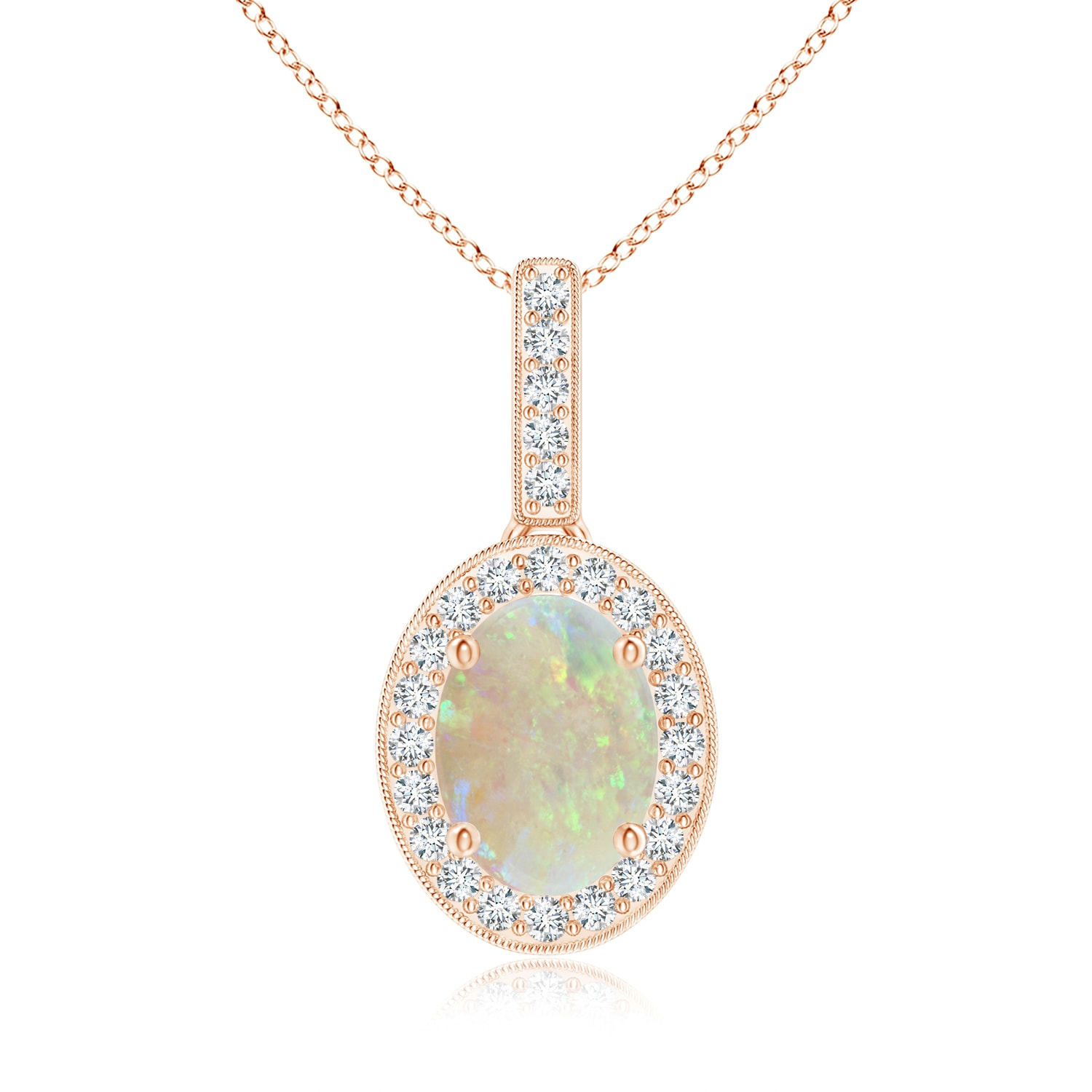 Vintage Style Oval Opal Pendant With Diamond Halo With Most Up To Date Oval Sparkle Halo Pendant Necklaces (Gallery 5 of 25)