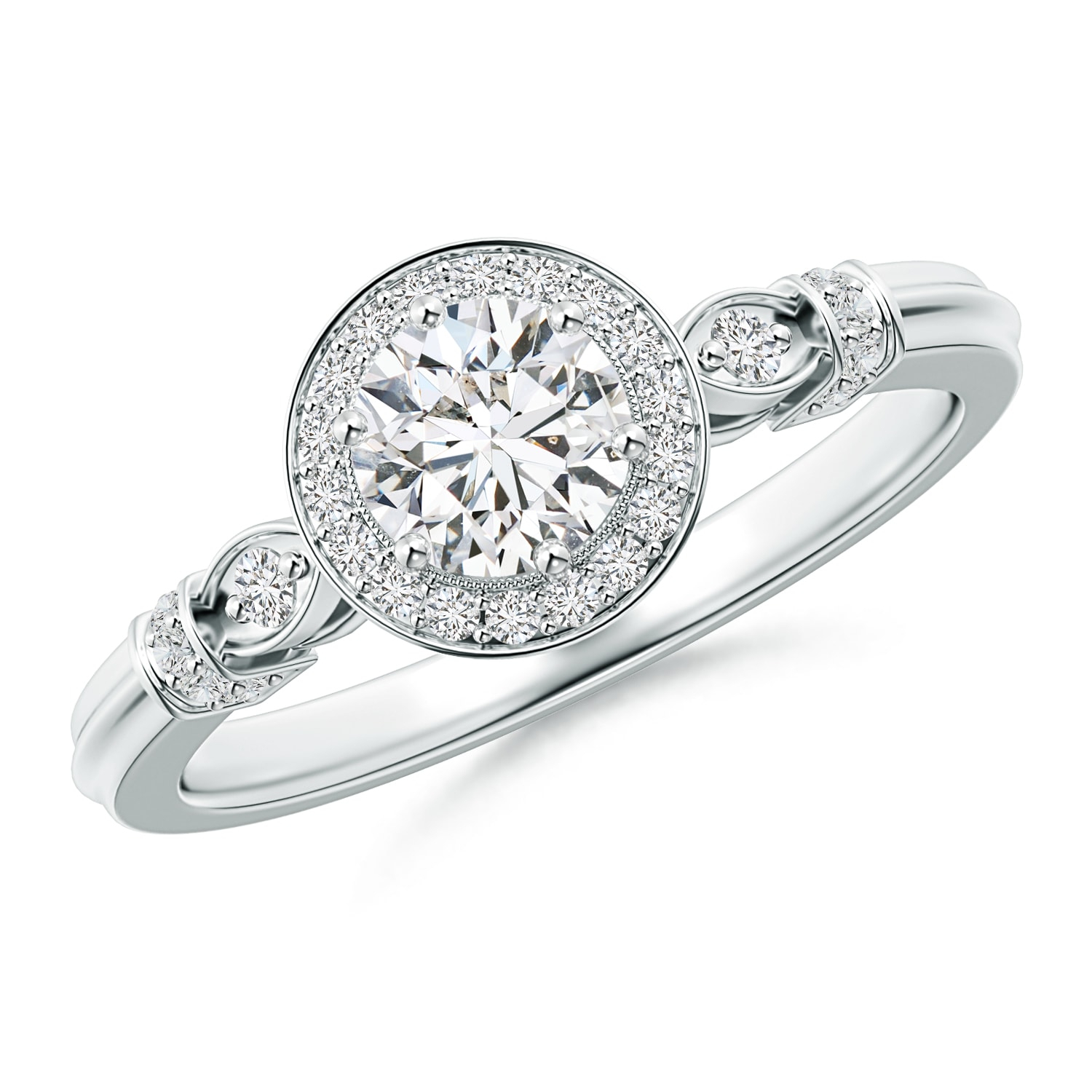 Vintage Style Round Diamond Halo Circle Ring Intended For Most Up To Date Vintage Circle Rings (Gallery 19 of 25)