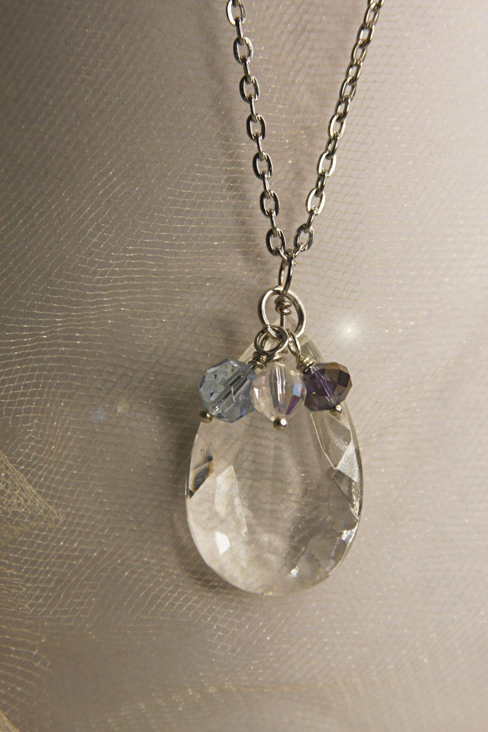 Featured Photo of Sparkling Teardrop Chandelier Pendant Necklaces