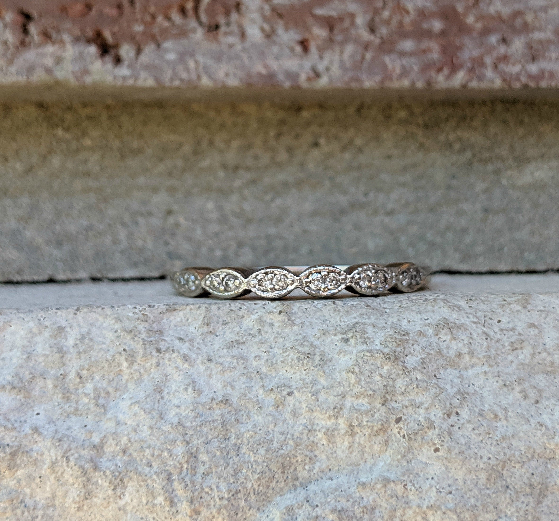 Vintage Thin Diamond White Gold Milgrain Wedding Band Ring | Anniversary Stacking Band | Stacking Band Ring Within 2019 Diamond Accent Milgrain Anniversary Bands In White Gold (View 18 of 25)
