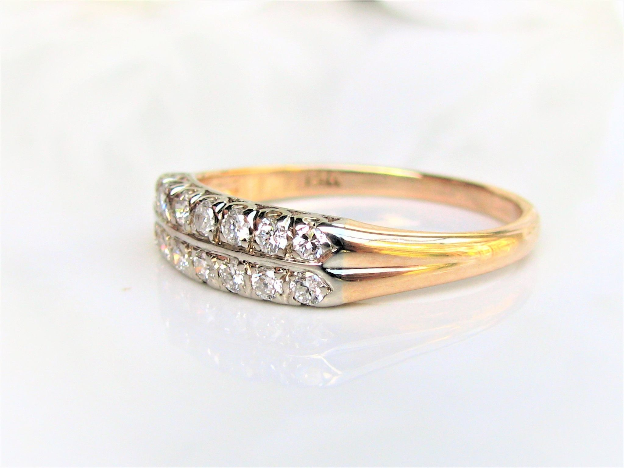 Vintage Two Row Diamond Wedding Band 0.51Ctw Diamond Within Latest Diamond Two Row Anniversary Rings In Gold (Gallery 6 of 25)