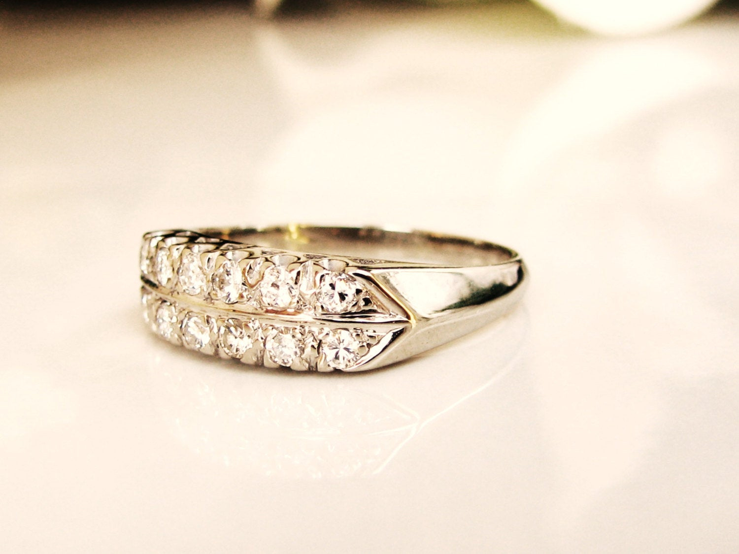 Vintage Two Row Diamond Wedding Band 14K White Gold 0.36Ctw Diamond  Anniversary Ring Vintage Bridal Jewelry Inside Most Recently Released Diamond Two Row Anniversary Rings In Gold (Gallery 9 of 25)