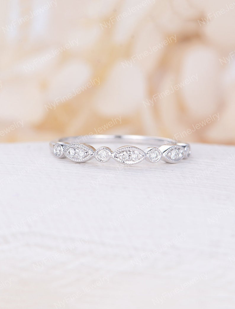 Vintage Wedding Band Women White Gold Art Deco Bridal Jewelry Half Eternity  Stacking Antique Promise Matching Anniversary Gift For Her Within Latest Diamond Eternity Anniversary Vintage Style Bands In White Gold (View 22 of 25)