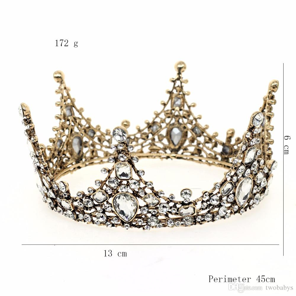 Vintage Wedding Tiaras And Crowns Alloy Bridal Tiara Baroque Queen King  Crown Rhinestones Crystal Bridal Wedding Crowns Throughout Most Recent Tiara Crown Collier Necklaces (Gallery 6 of 25)