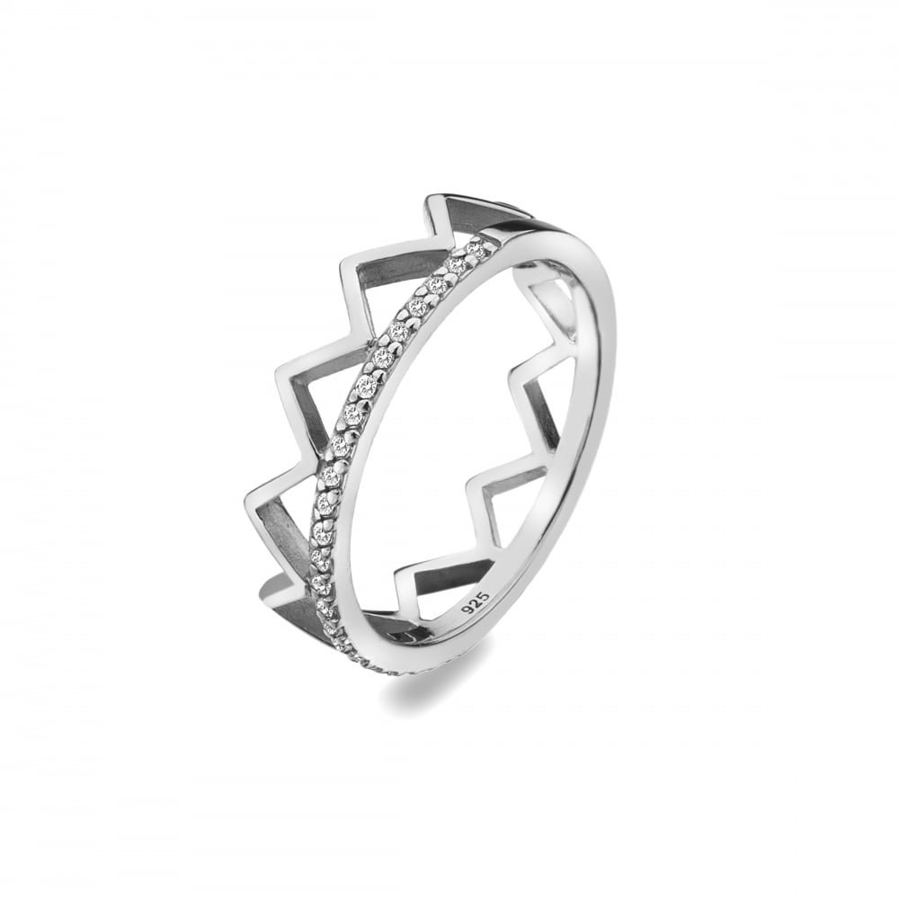 Virtue – Royal, Cubic Zirconia Set, Sterling Silver Crown Ring, Size N Pertaining To 2017 Black Sparkling Crown Rings (View 23 of 25)