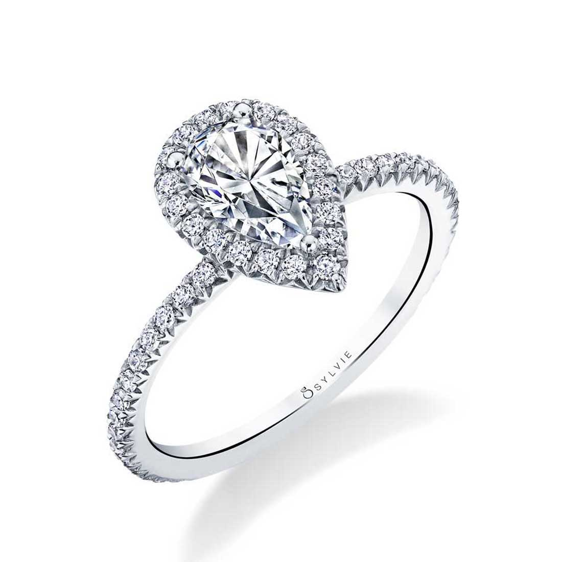 Vivian – Pear Shaped Halo Engagement Ring – Sylvie Collection Regarding Newest Sparkling Teardrop Halo Rings (View 15 of 25)