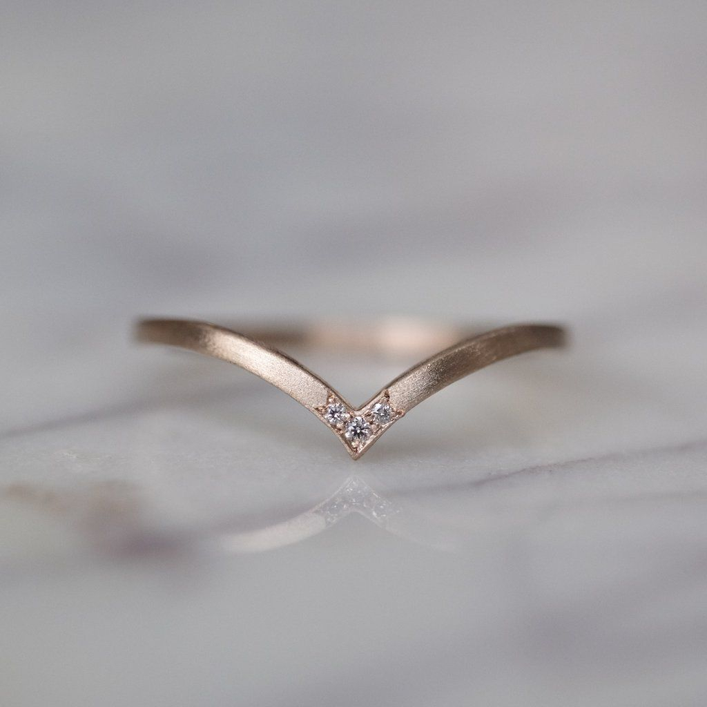 Vivian, Triple Diamond Wedding Band In Rose Gold | Wedding Pertaining To Most Recent Diamond Anniversary Bands In Rose Gold (Gallery 24 of 25)