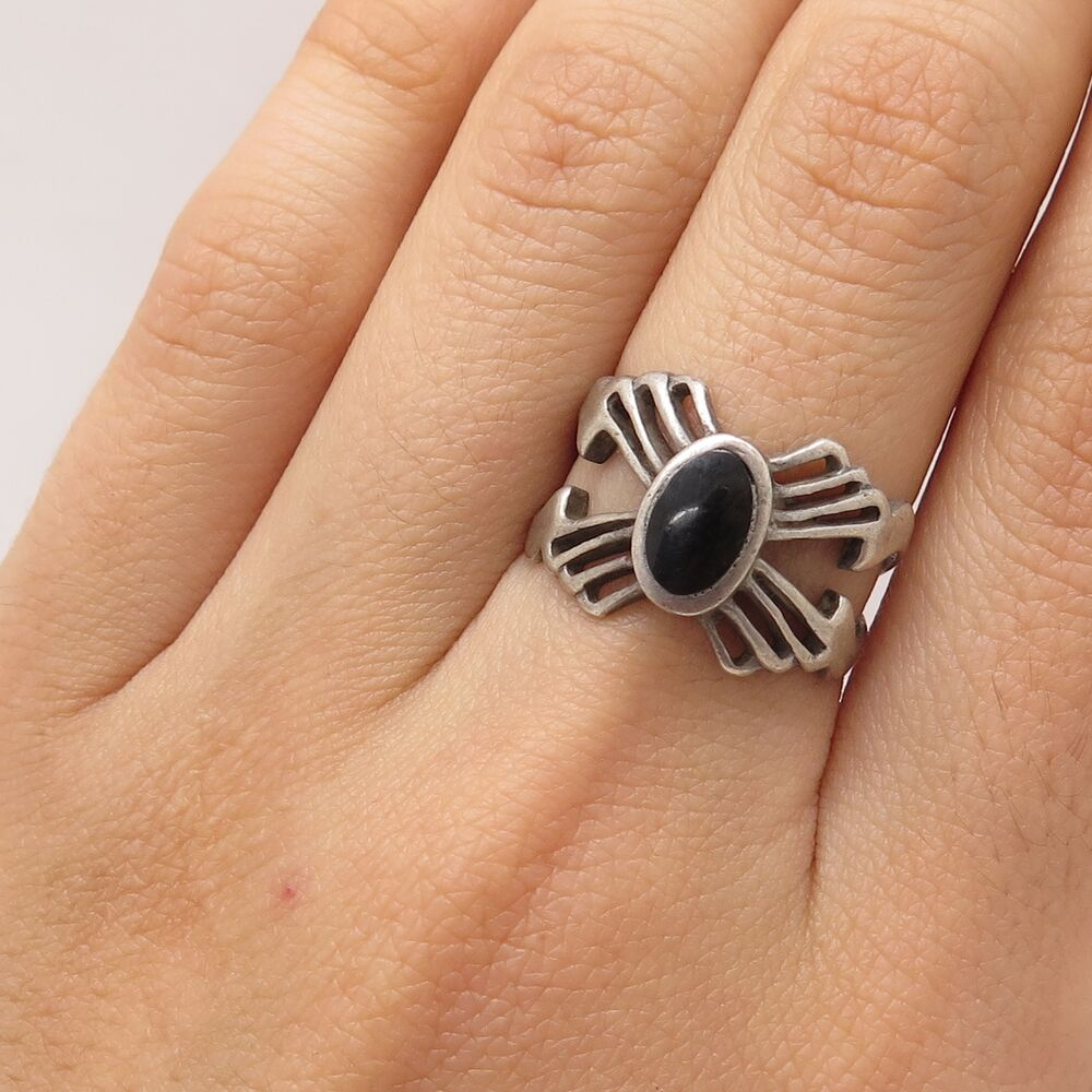 Vtg 925 Sterling Silver Real Black Onyx Gem Openwork Butterfly Ring Size  6.5 | Ebay With Regard To Most Recent Openwork Butterfly Rings (Gallery 9 of 25)