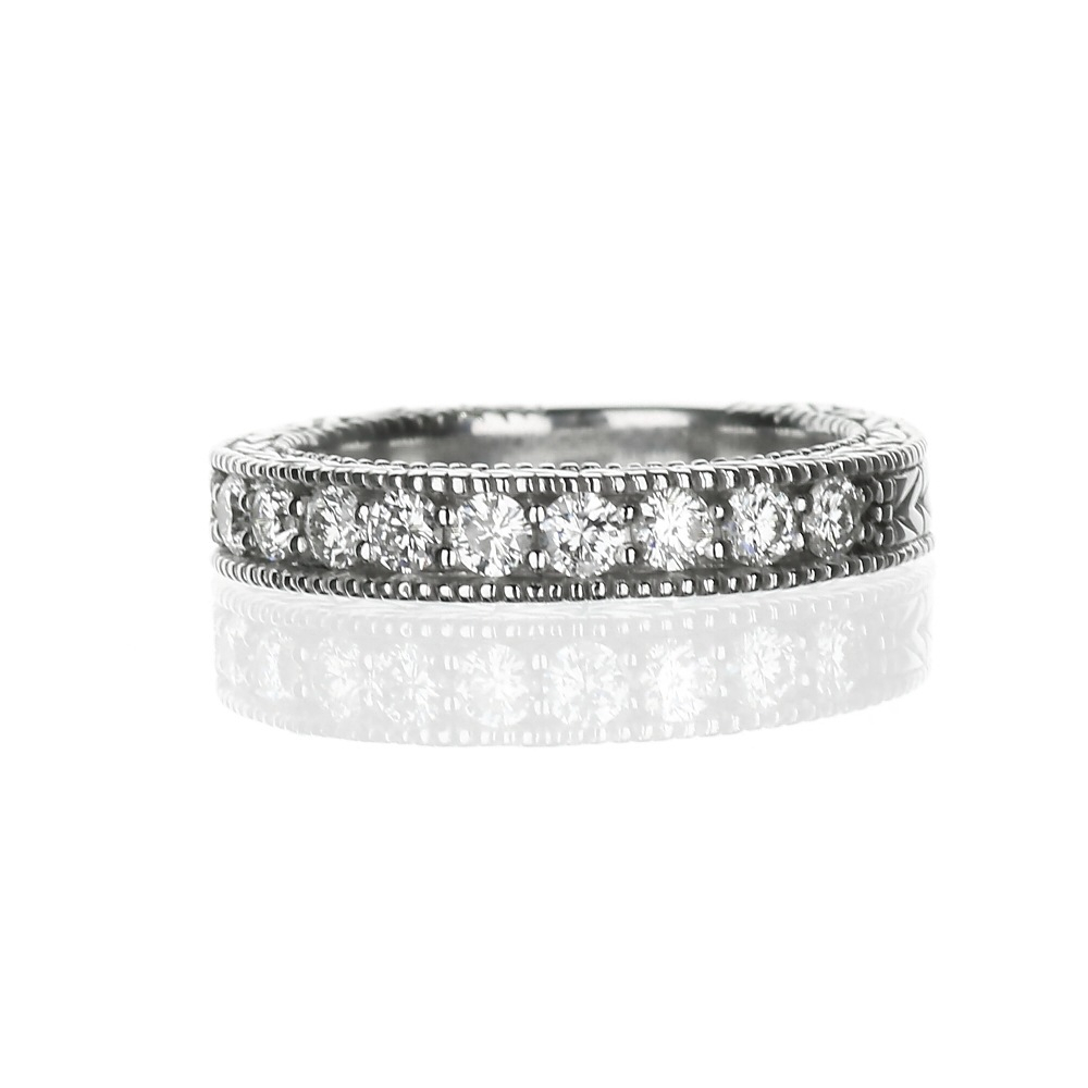 Wedding Bands | Vintage Inspired Ladies Band 14k White Gold Inside Most Recently Released Diamond Art Deco Inspired Anniversary Bands In White Gold (View 2 of 25)
